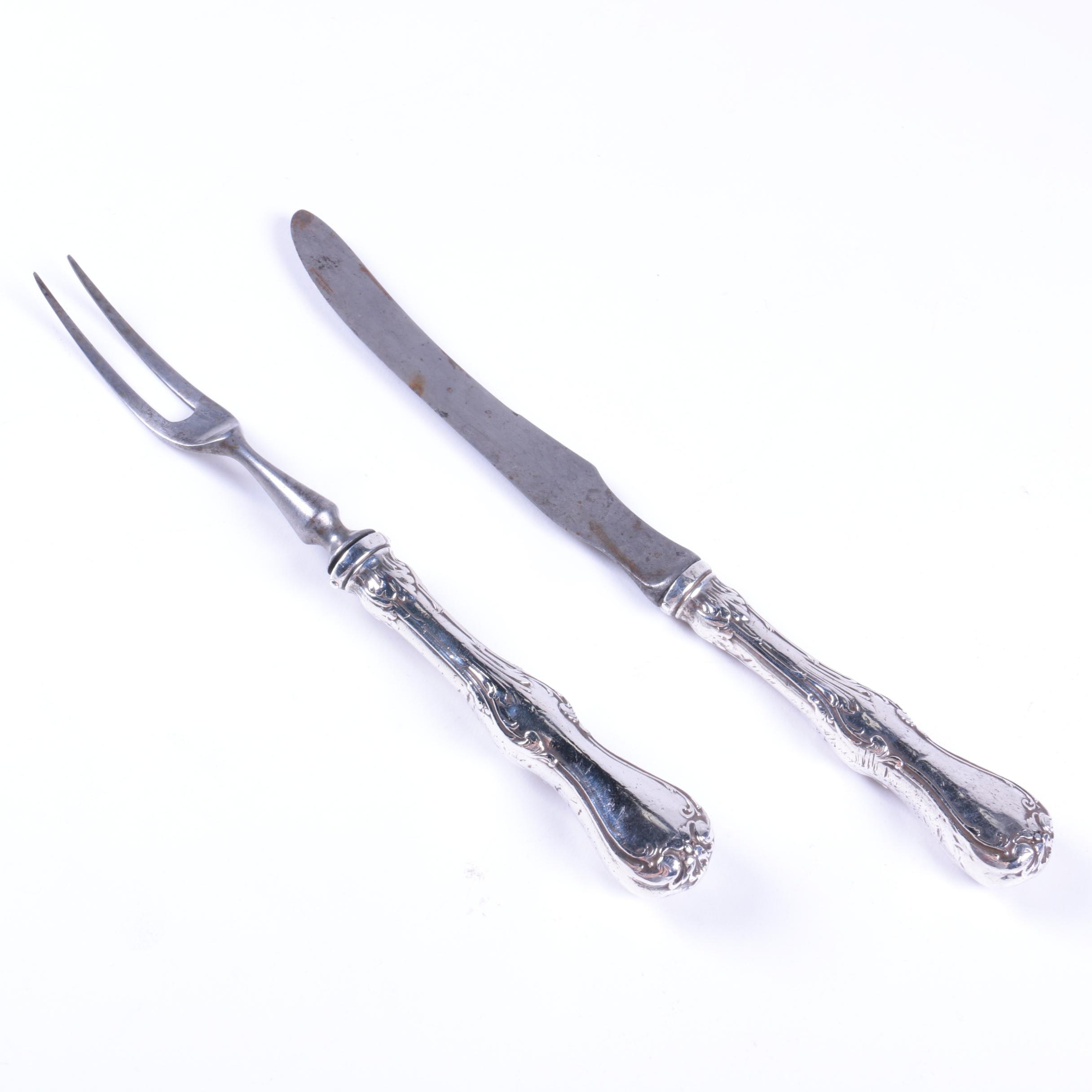 Whiting Sterling Silver and Stainless Steel Roast Carving Set