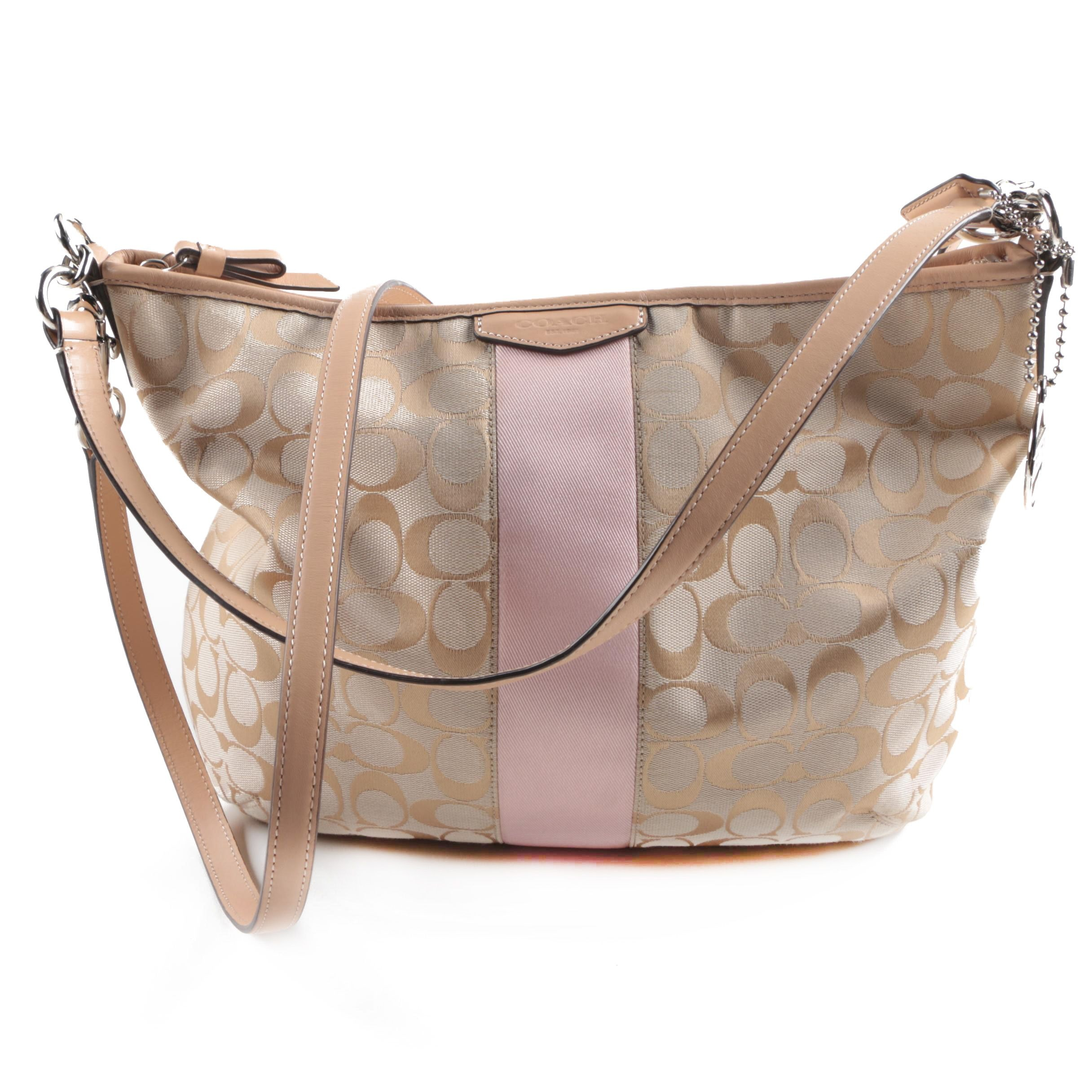 Coach Signature Stripe Convertible Hobo Bag