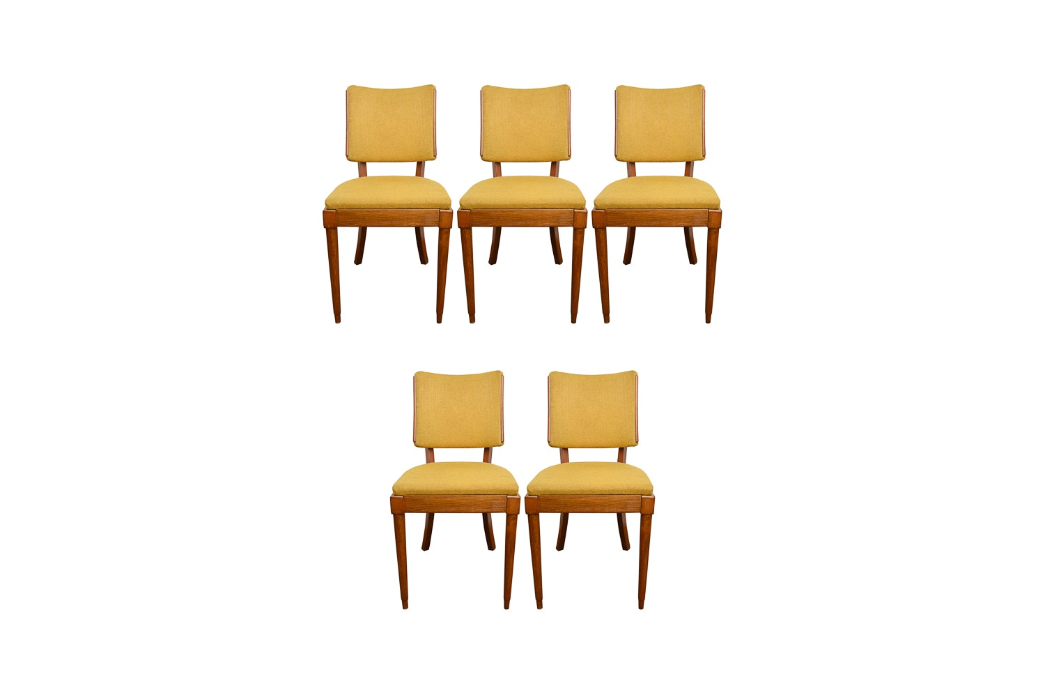 Five Mid Century Modern Walnut Dining Chairs