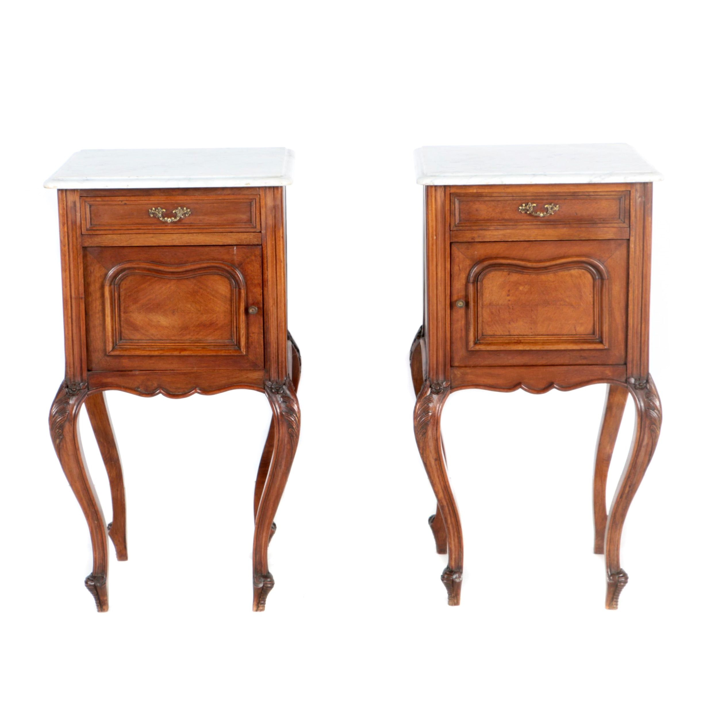 Pair of French Walnut Nightstands