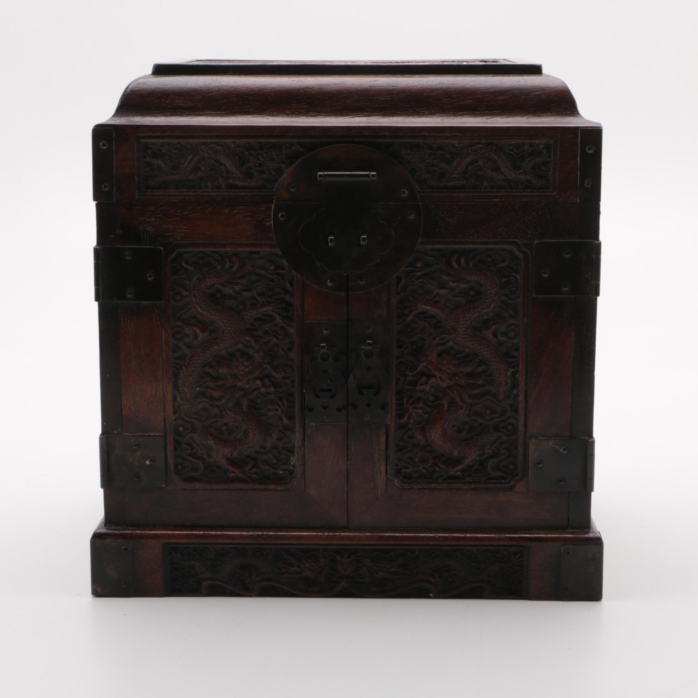 Carved Chinese Wooden Storage Chest
