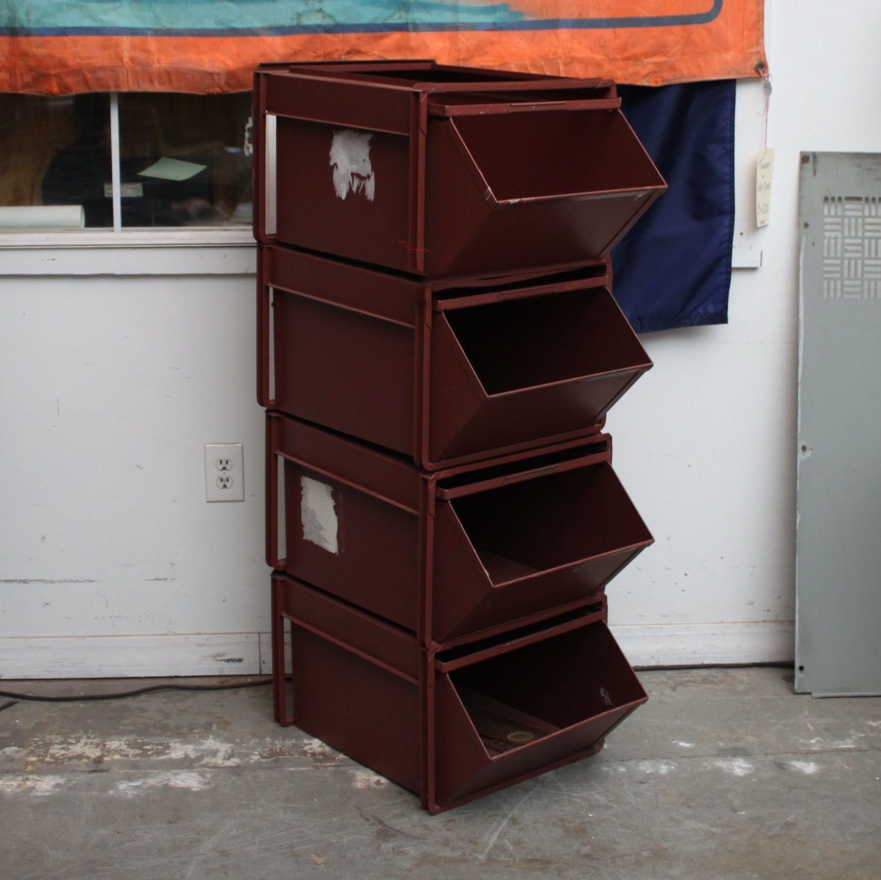 Industrial Style Metal Four-Bin Storage Unit