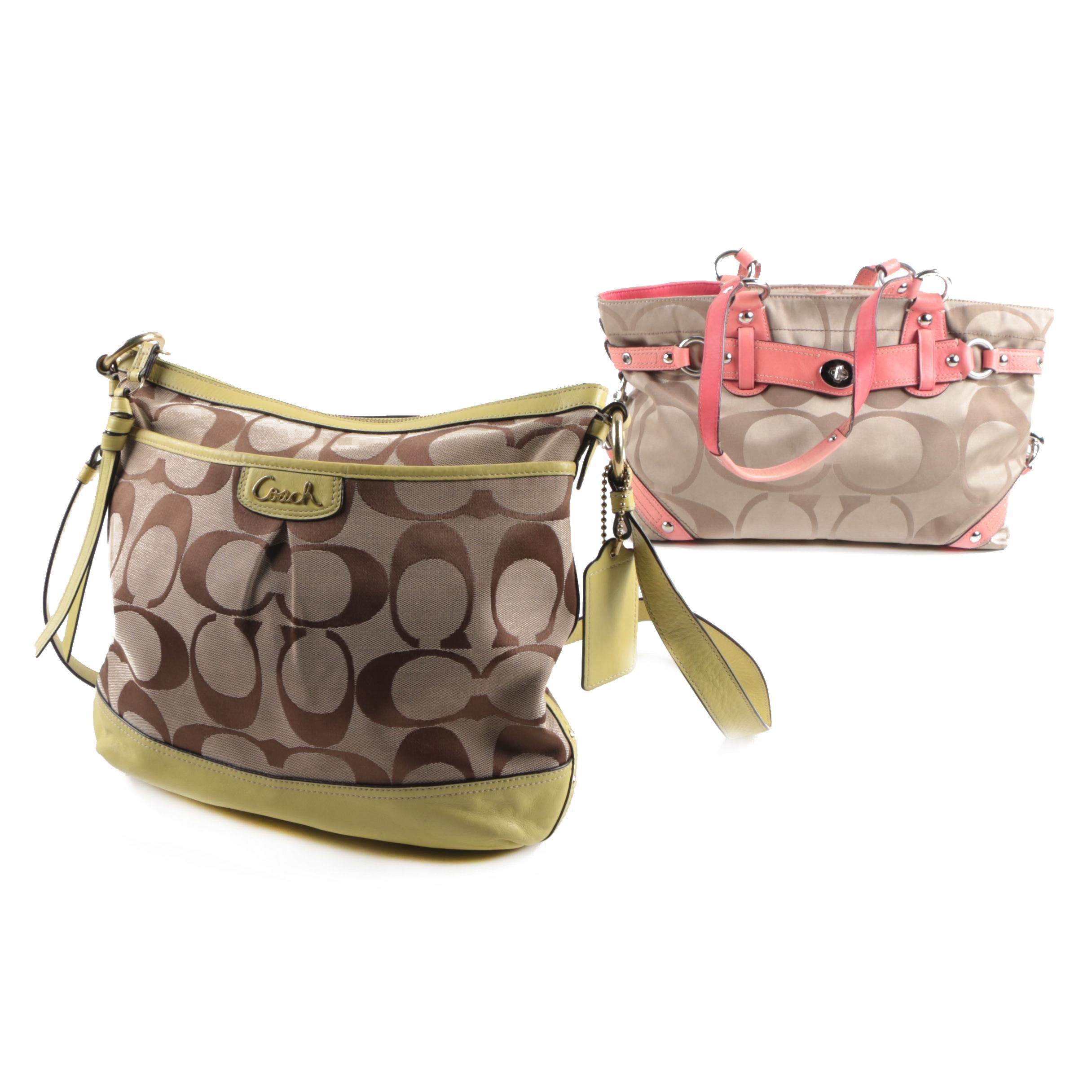 Coach Park Signature Duffle and Carly Signature Carryall
