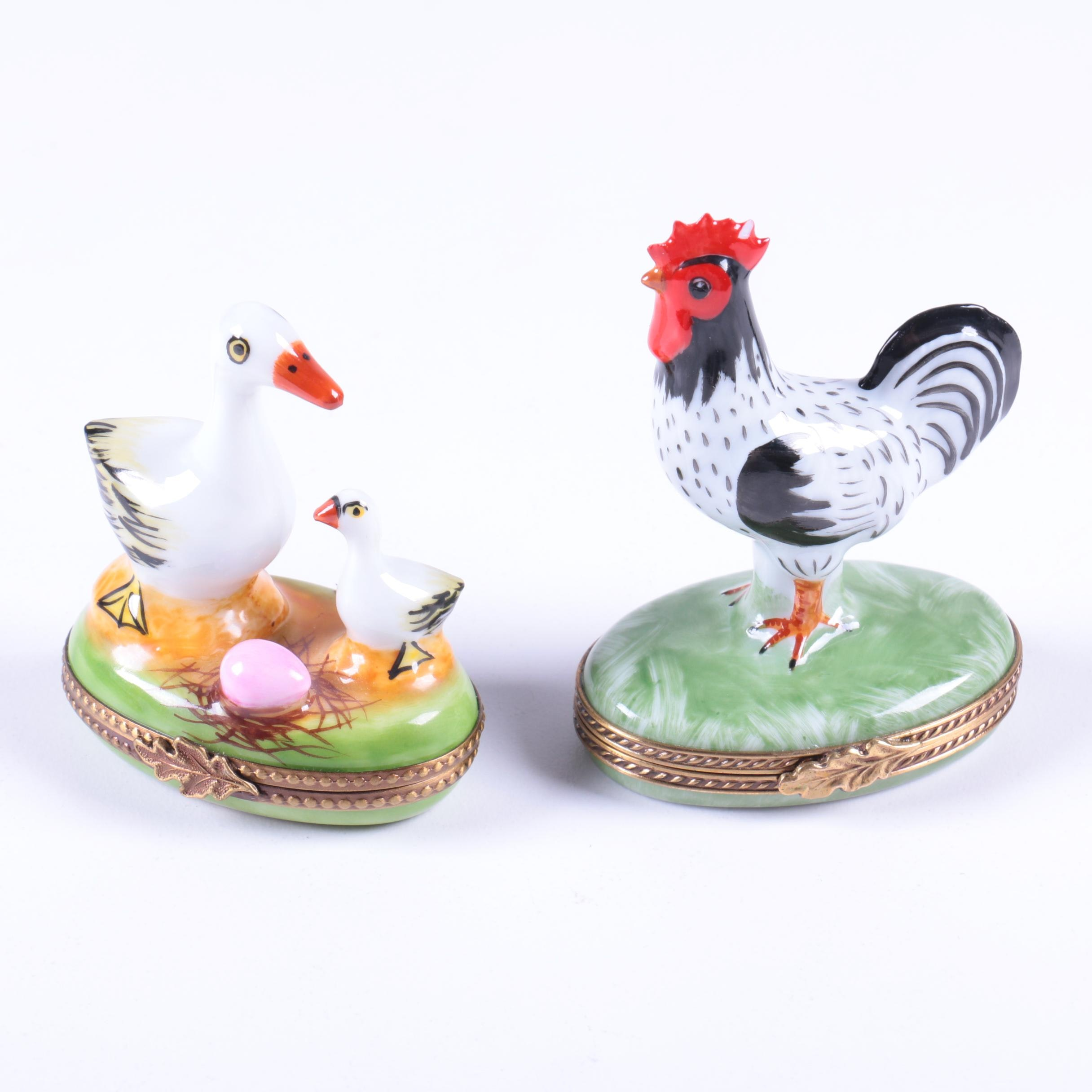 Limoges Porcelain Novelty Bird Boxes