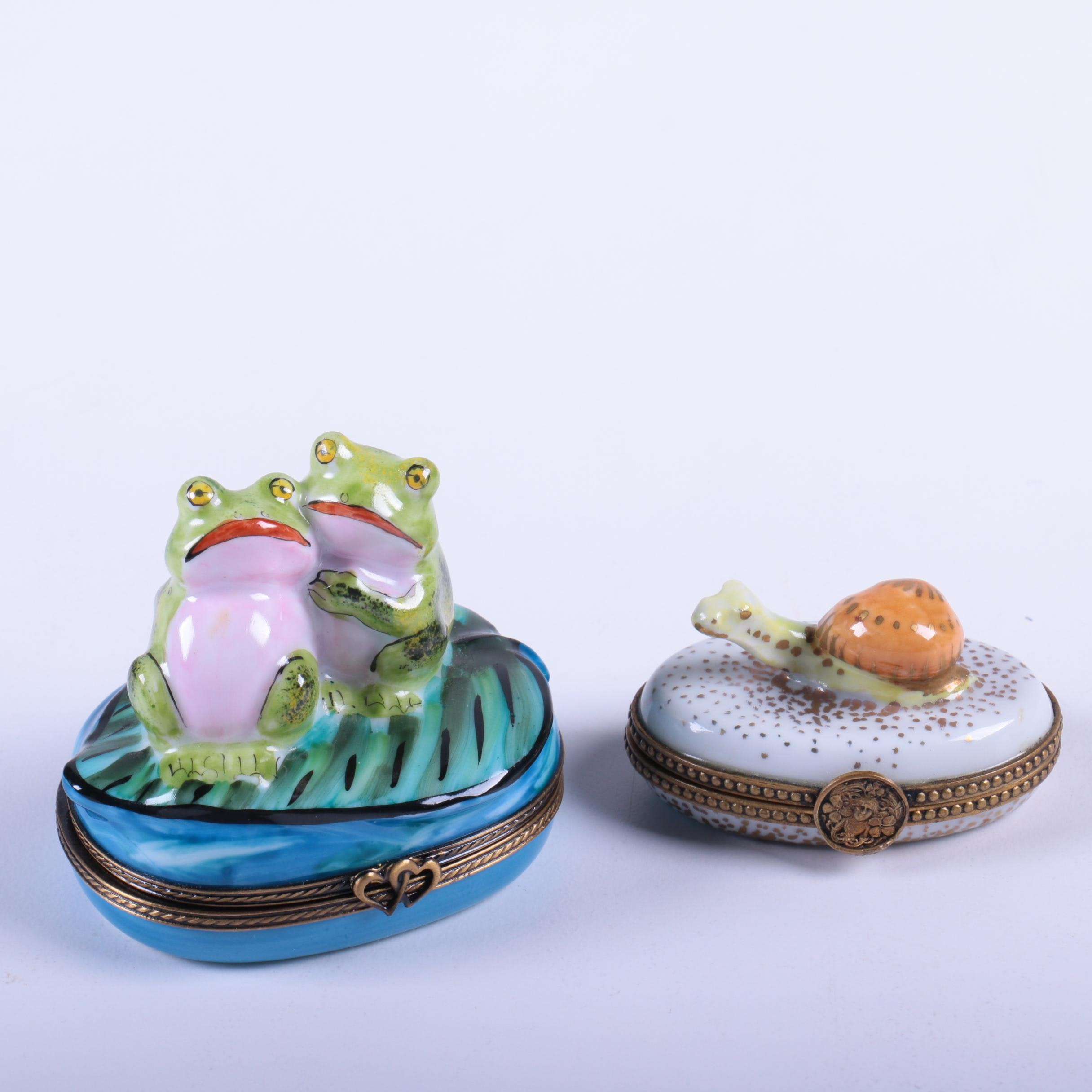 Limoges Porcelain Novelty Frogs and Snail Boxes