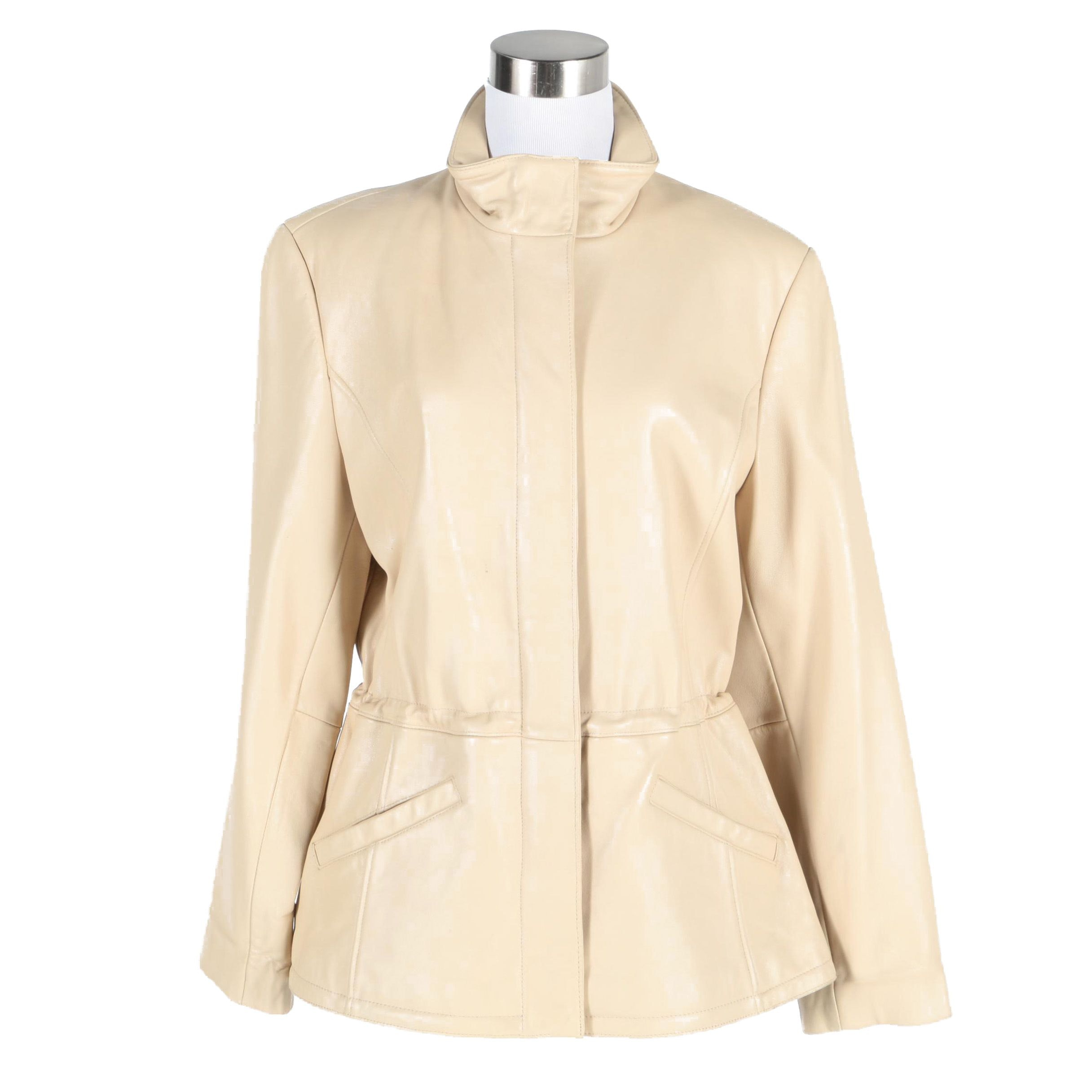 Liz Claiborne Cream Leather Jacket