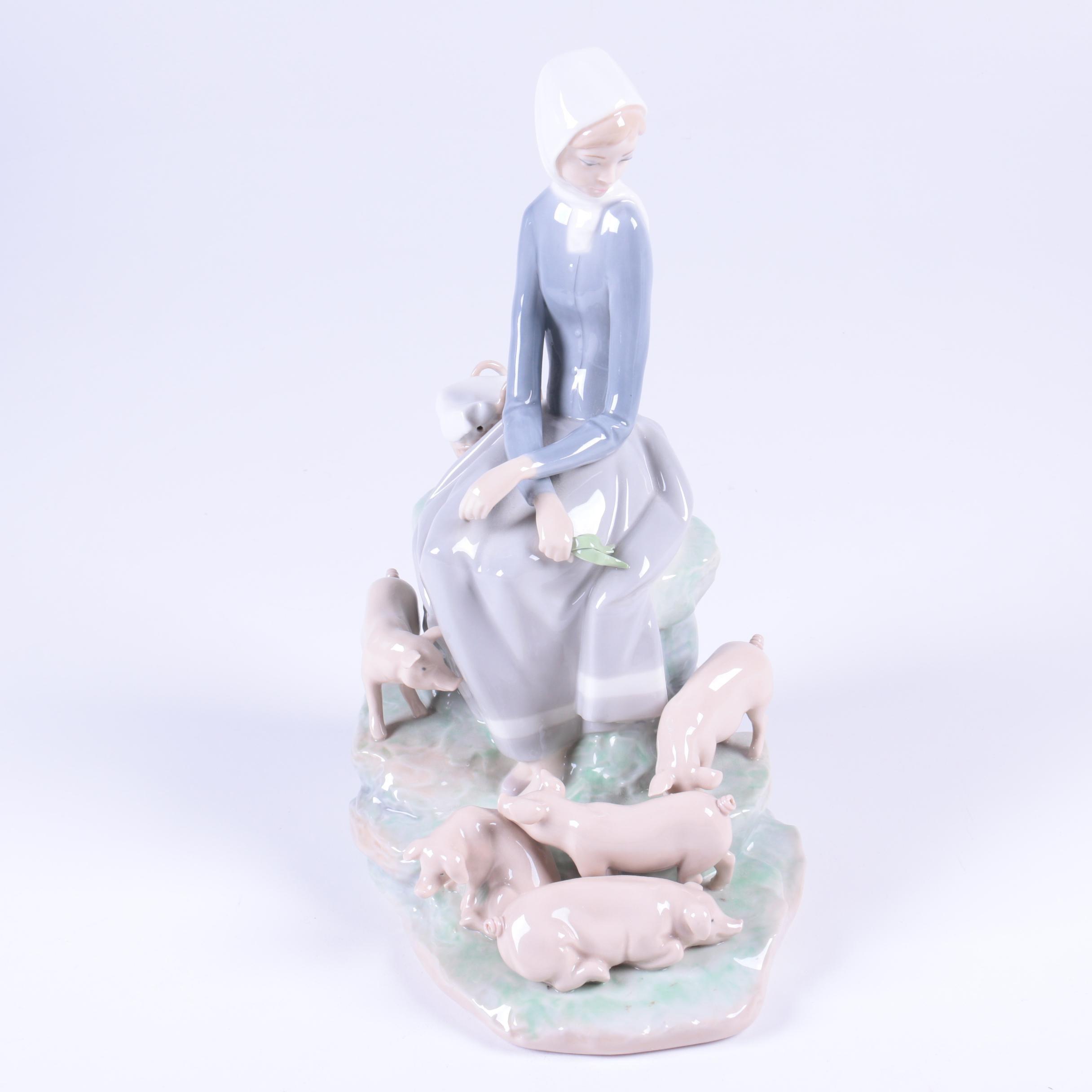 "Lladró ""Girl with Piglets"" Figurine"