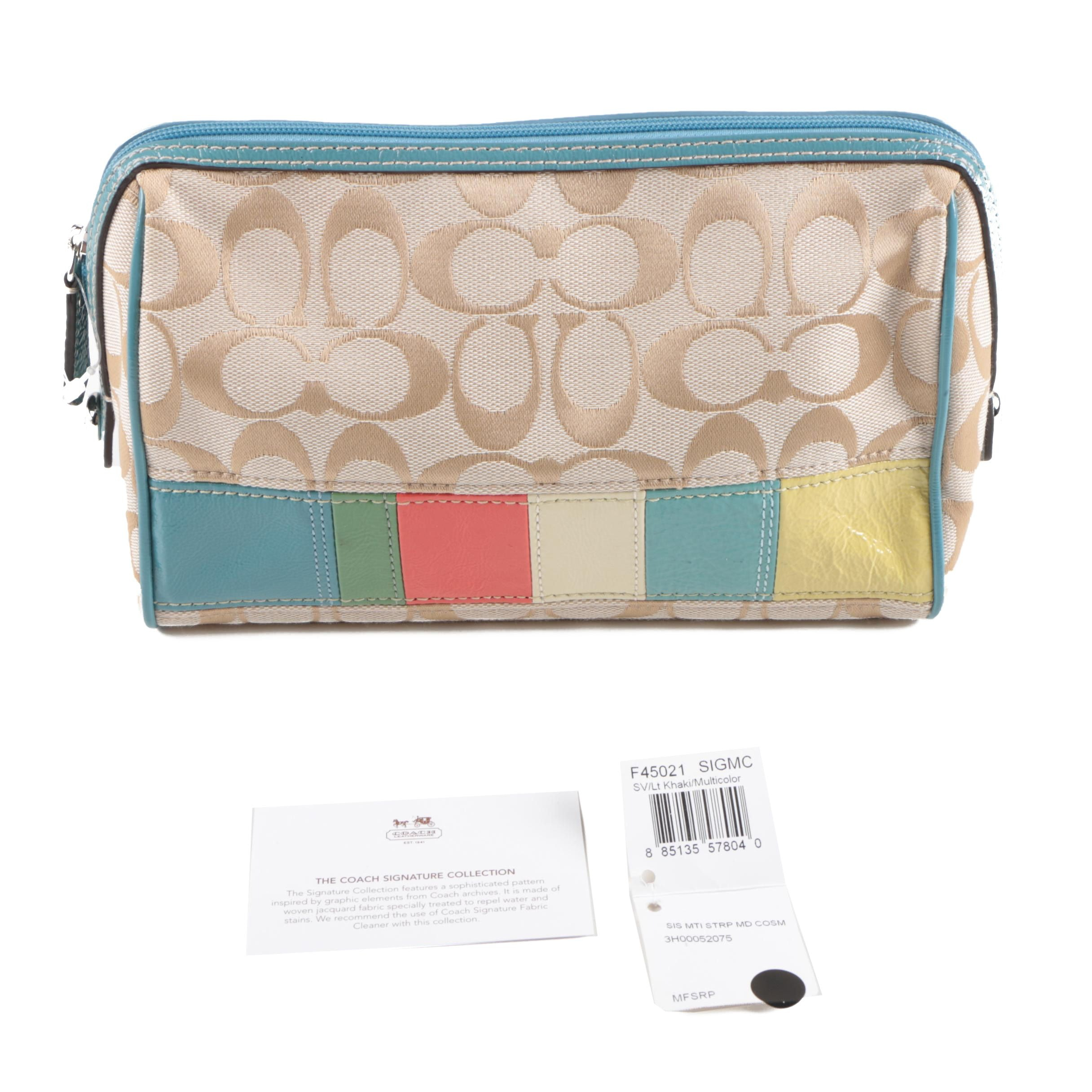 Coach Signature Canvas and Leather Cosmetic Case