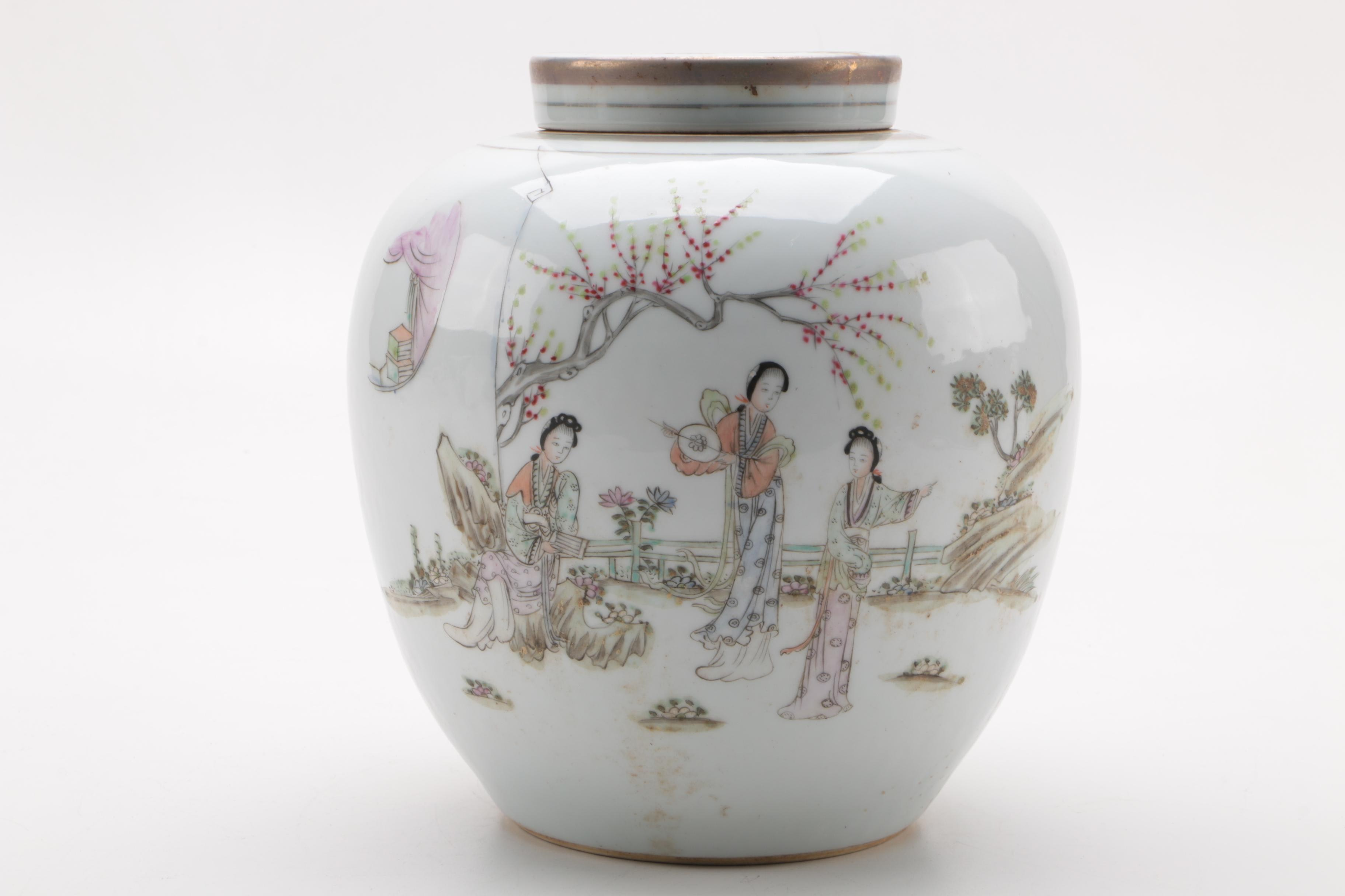 Chinese Hand-Painted Lidded Ceramic Ginger Jar