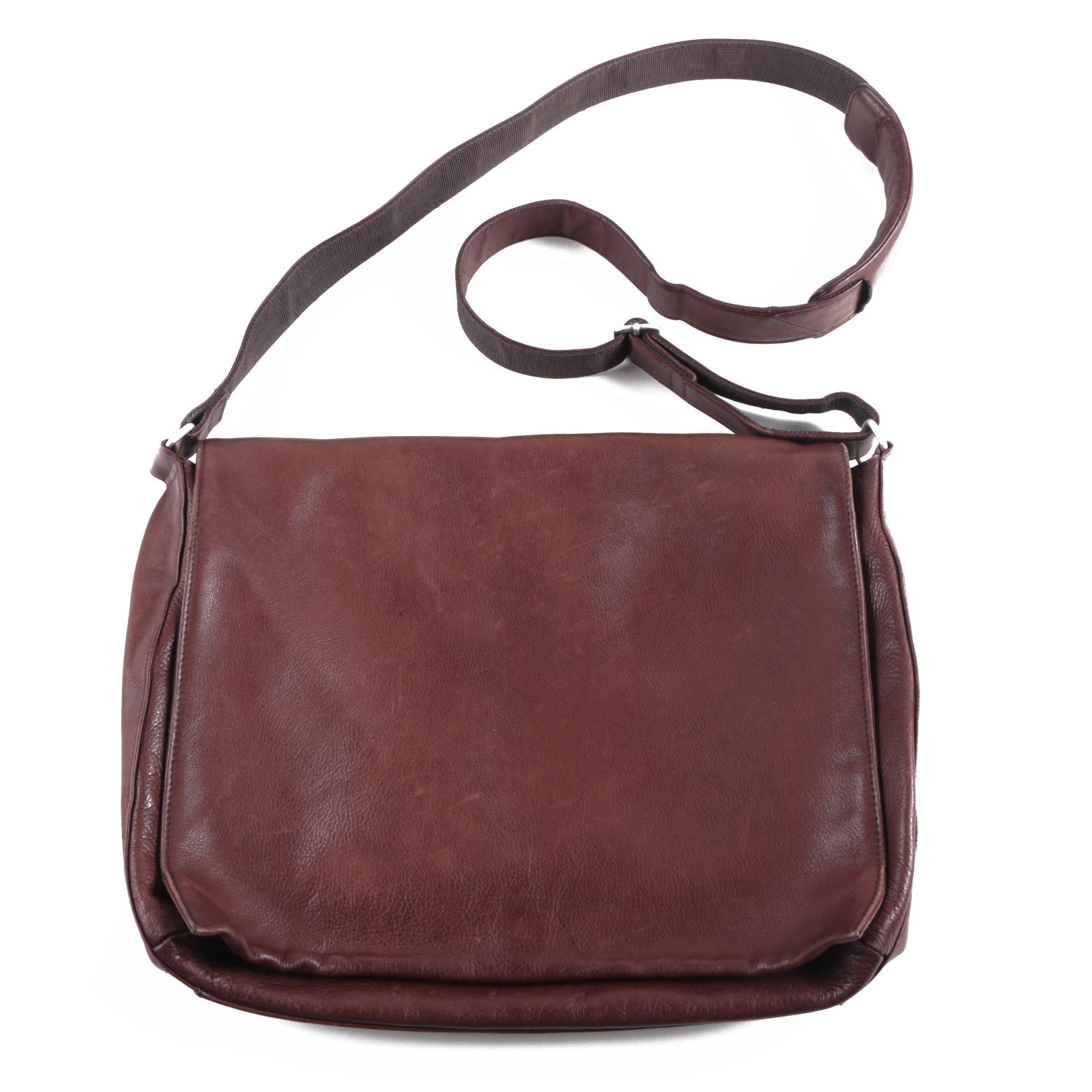 El Portal Brown Leather Messenger Bag