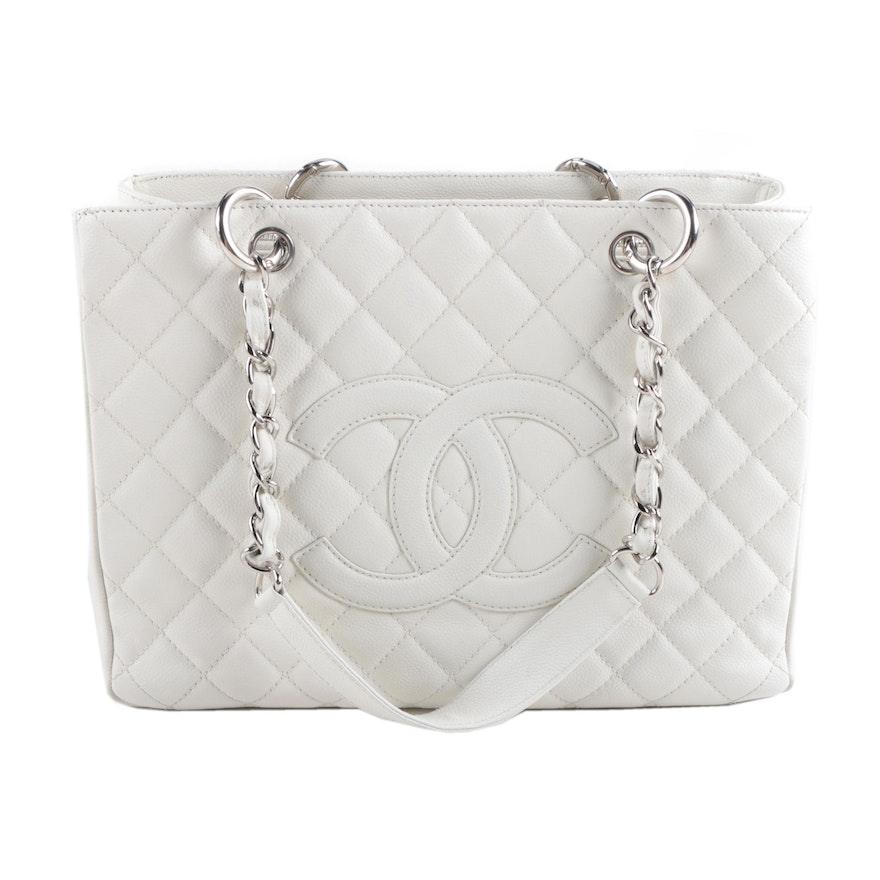 af8786703a71d1 Chanel White Quilted Leather Handbag | EBTH