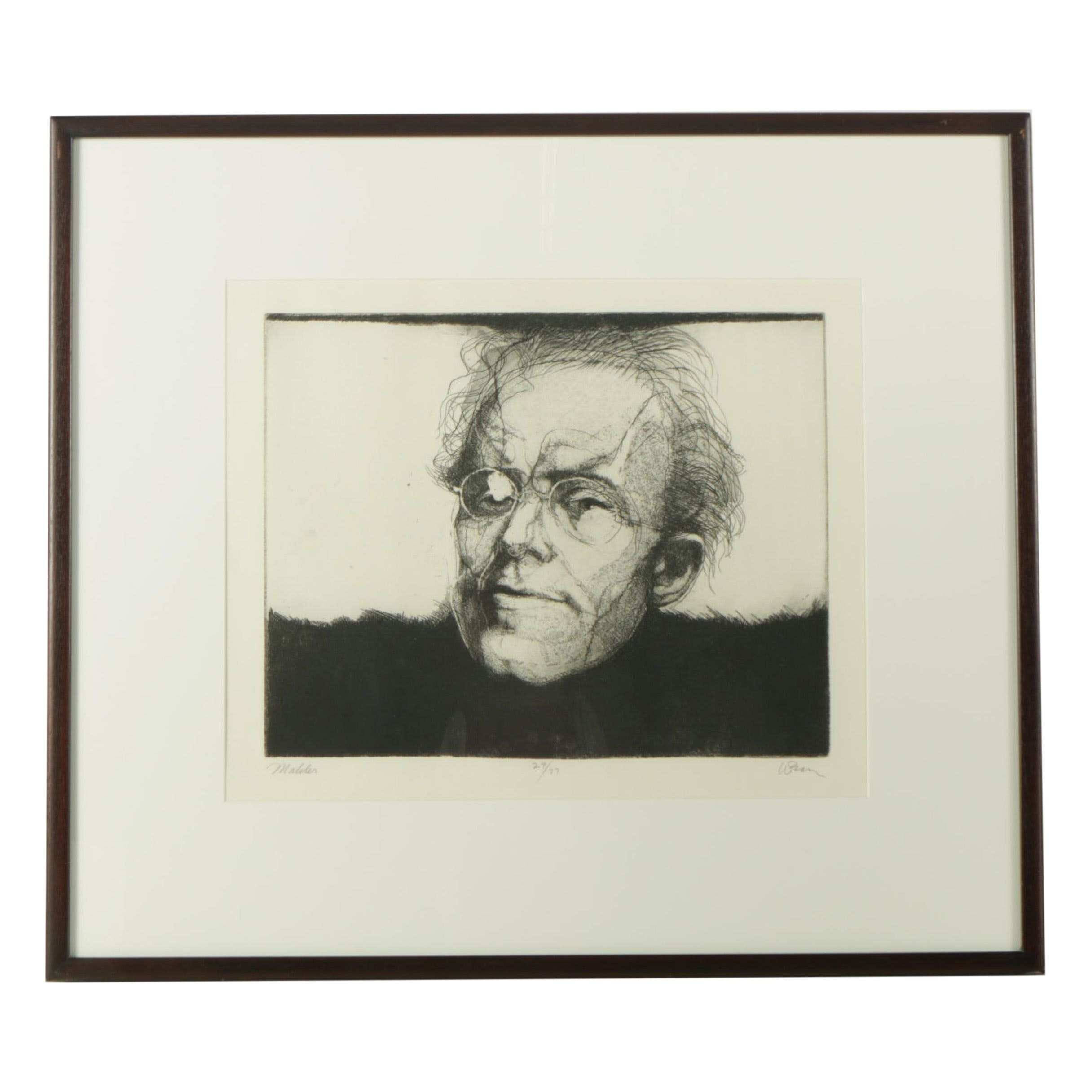 """Charles Wells Limited Edition Etching """"Mahler"""""""
