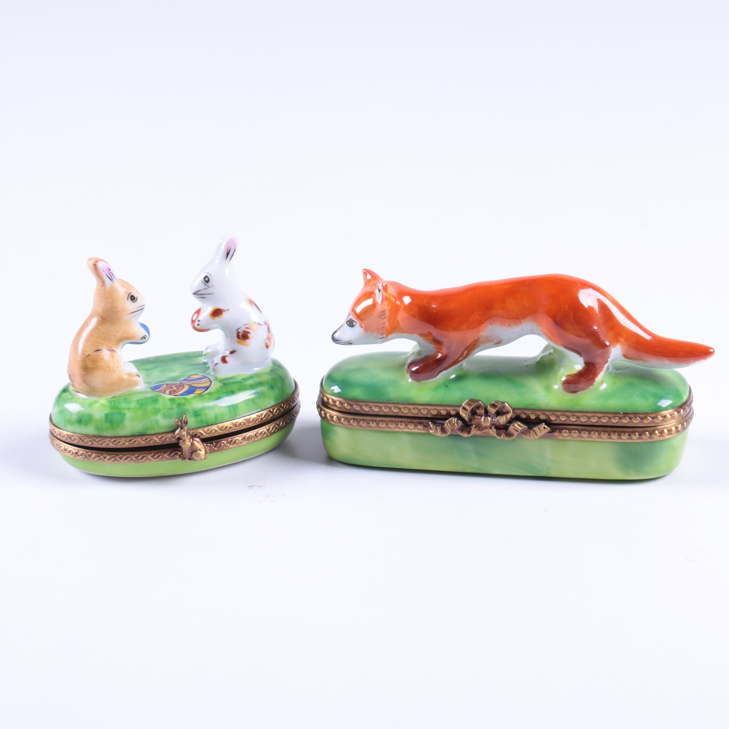 Limoges Porcelain Novelty Rabbit and Fox Boxes