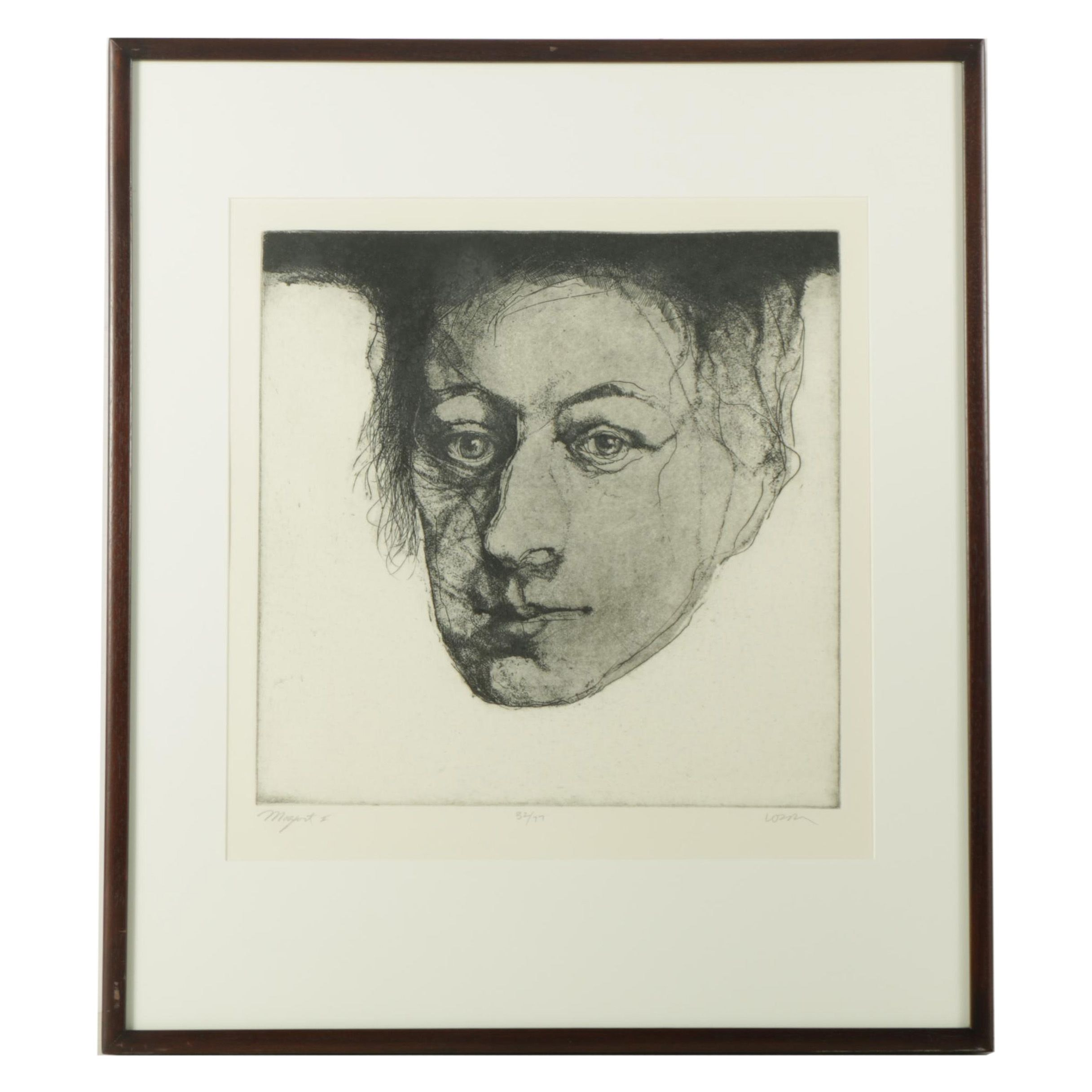 """Charles Wells Limited Edition Intaglio Etching on Paper """"Mozart"""""""