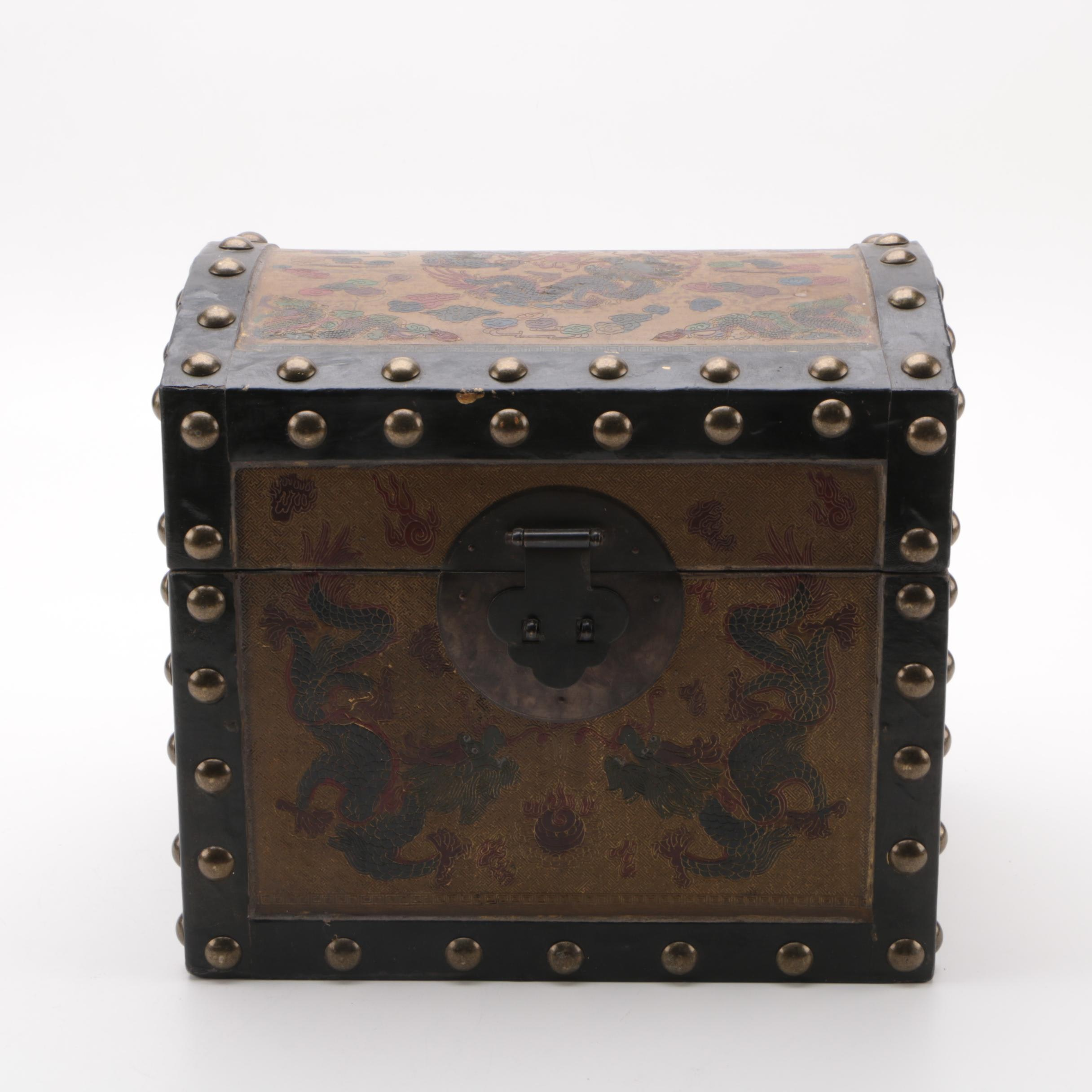 Chinese Wood Box with Metal Rivets and Dragon Motifs