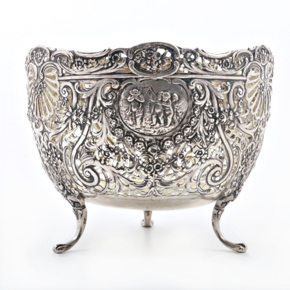 Antique 800 German Silver Footed Pierced Bowl