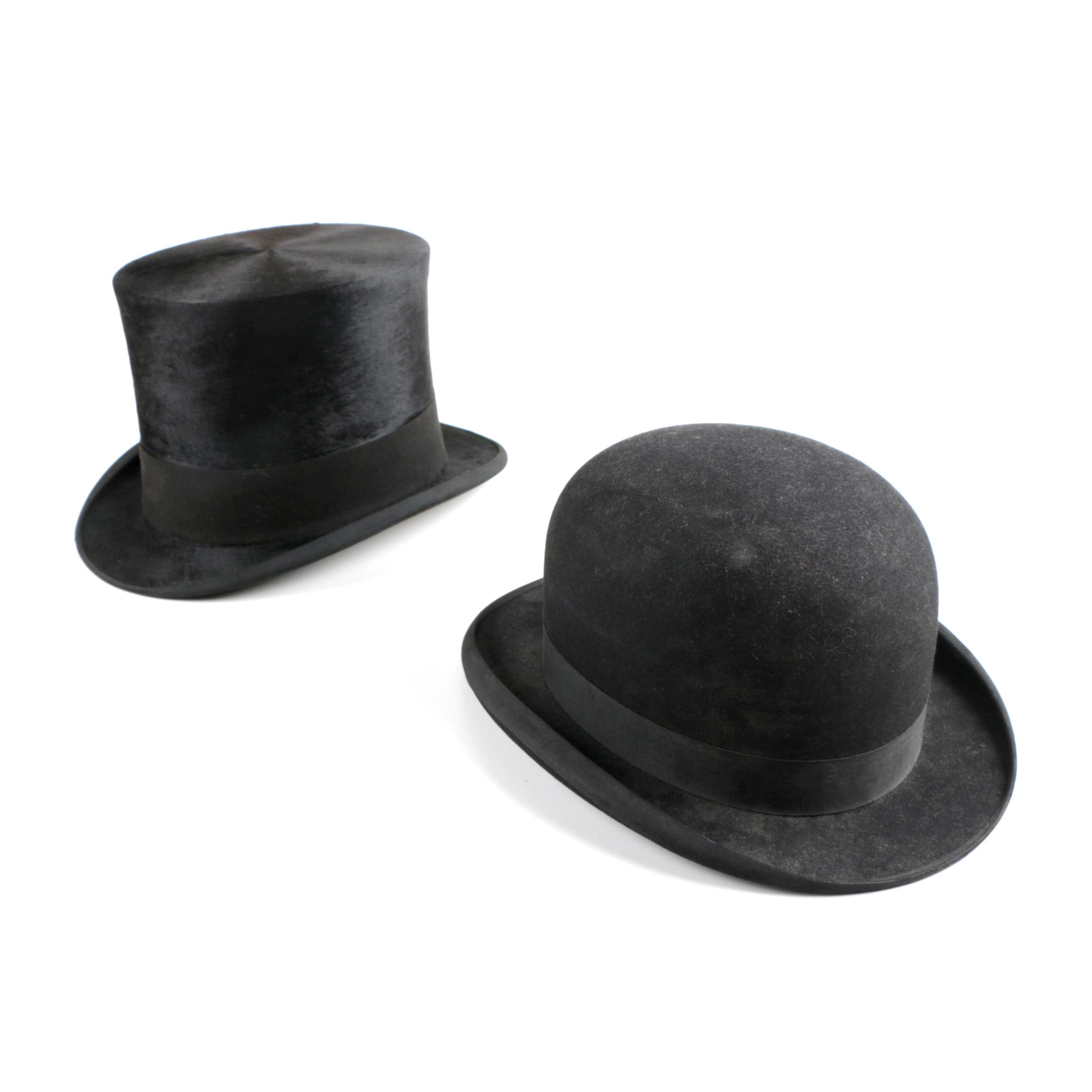 Vintage Stetson Bowler Hat and Collins & Fairbanks Top Hat