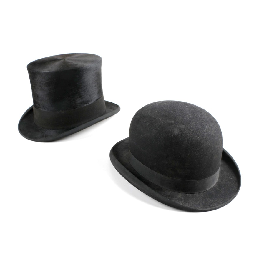 Vintage Stetson Bowler Hat and Collins   Fairbanks Top Hat 0ecd9771ad2
