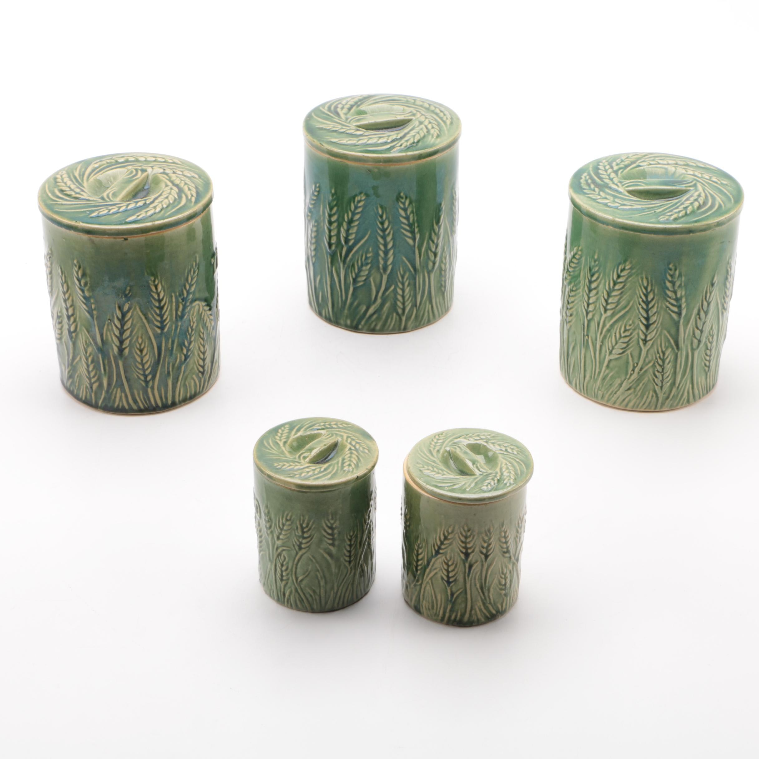 "Hull ""Wheat"" Pattern Canisters"