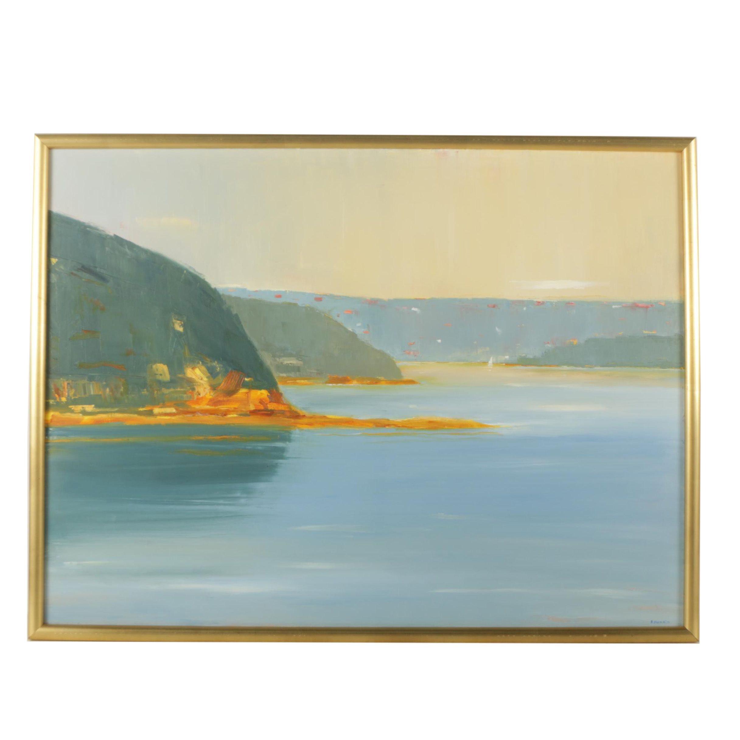 R. Dupain Oil Painting on Canvas Landscape of a Coast