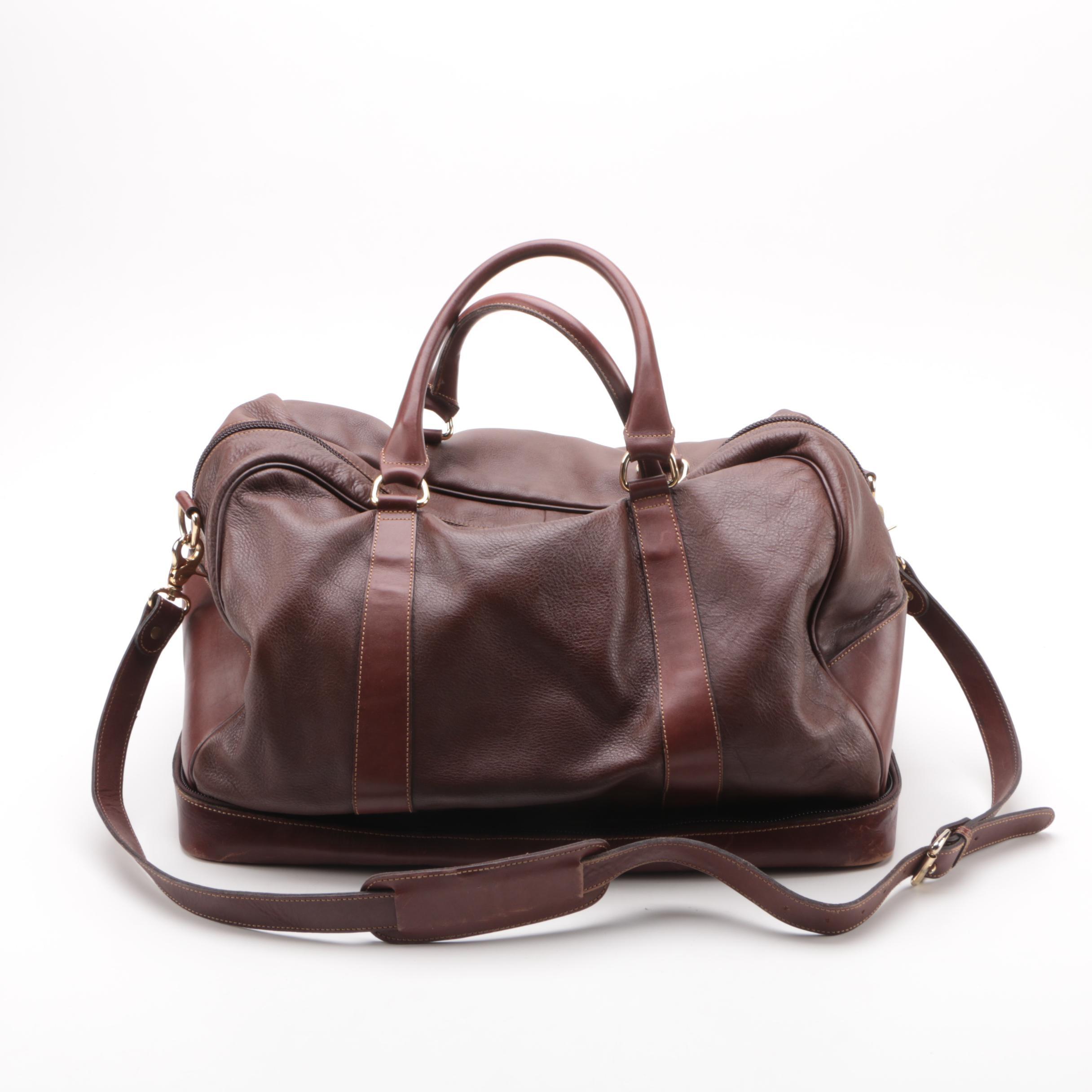 D'Italia Brown Leather Duffel Bag