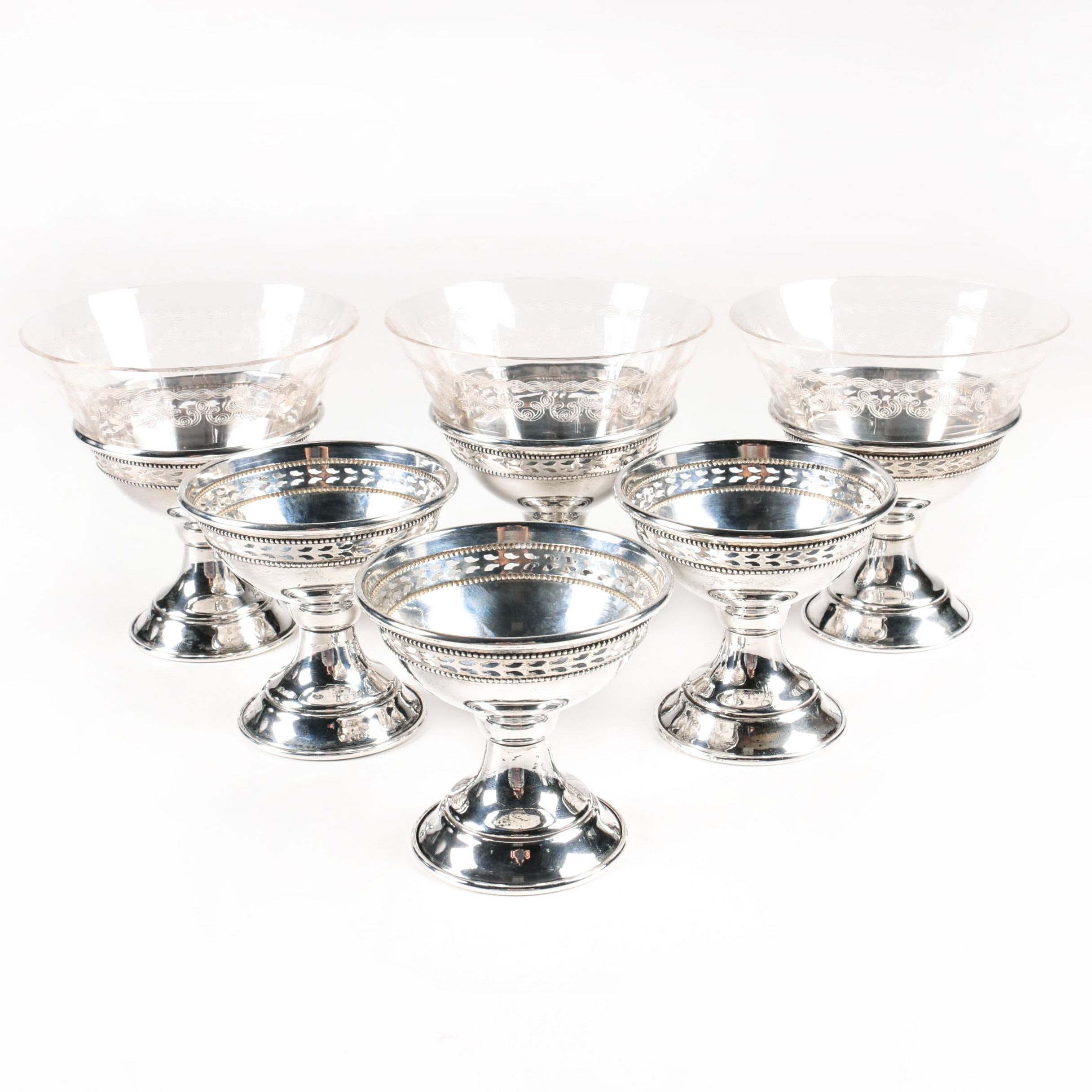 Sterling Silver Sherbets with Glass Inserts