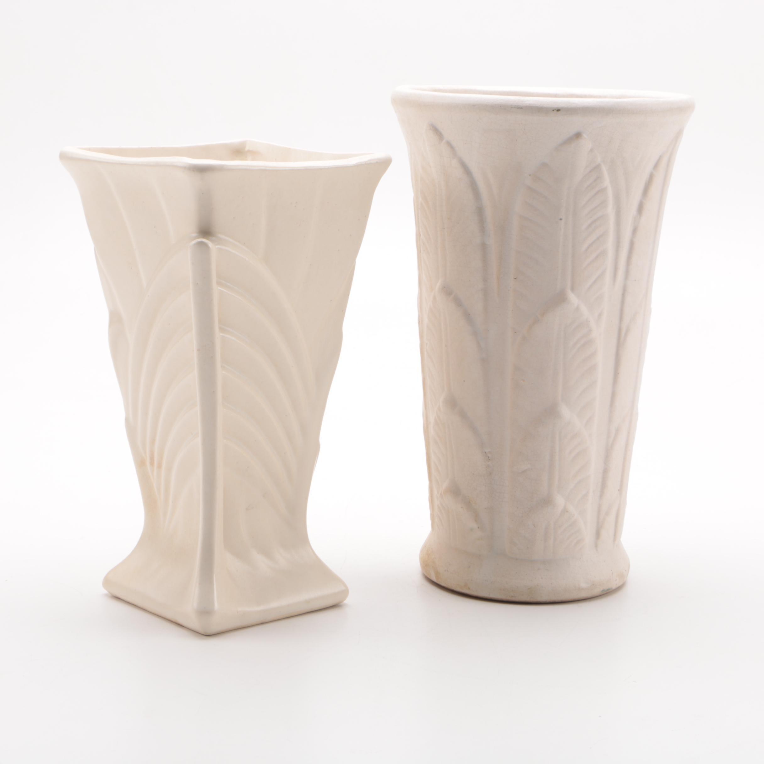 Art-Deco Style McCoy Pottery Vase with a White Glazed Vase