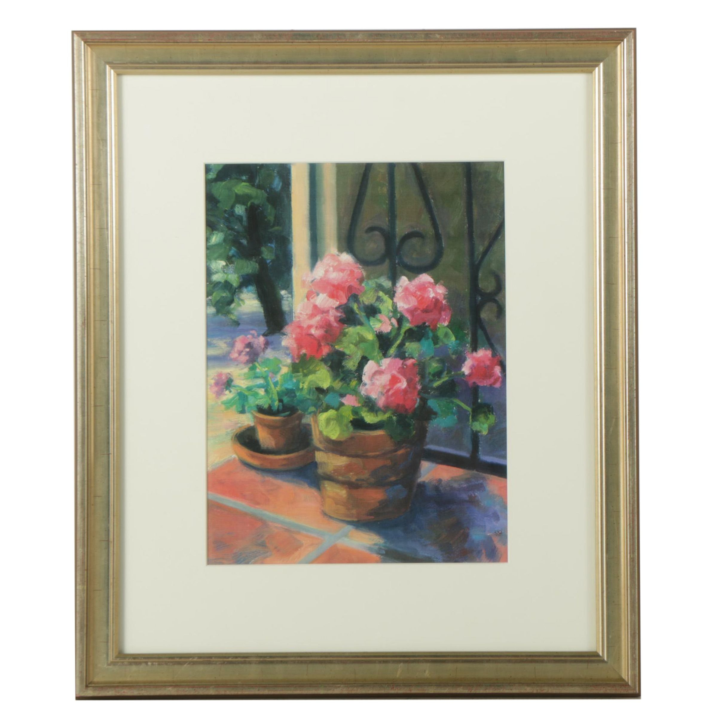 Giclee of Still Life with Potted Geraniums