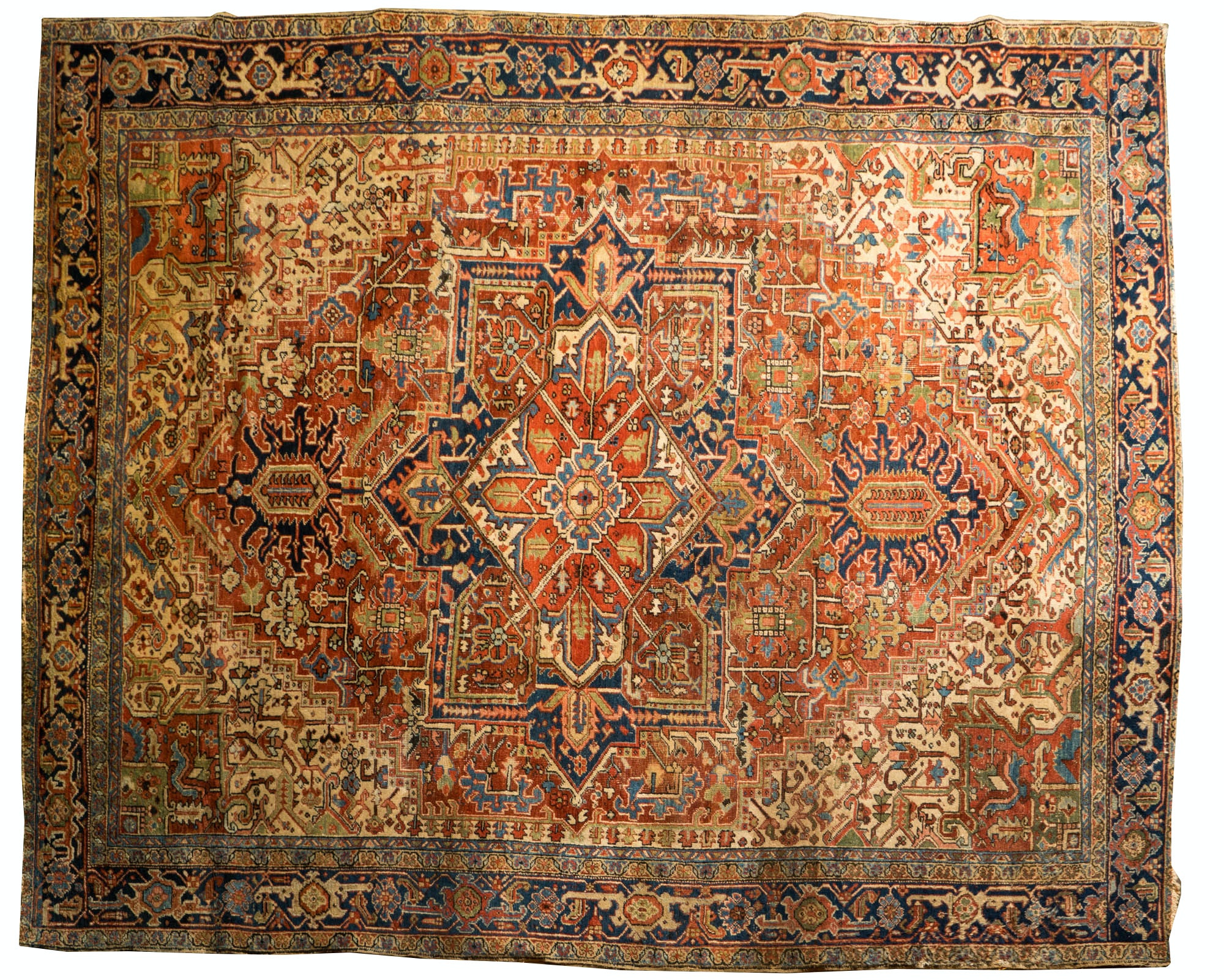 Large Antique Hand-Knotted Heriz Serapi Area Rug