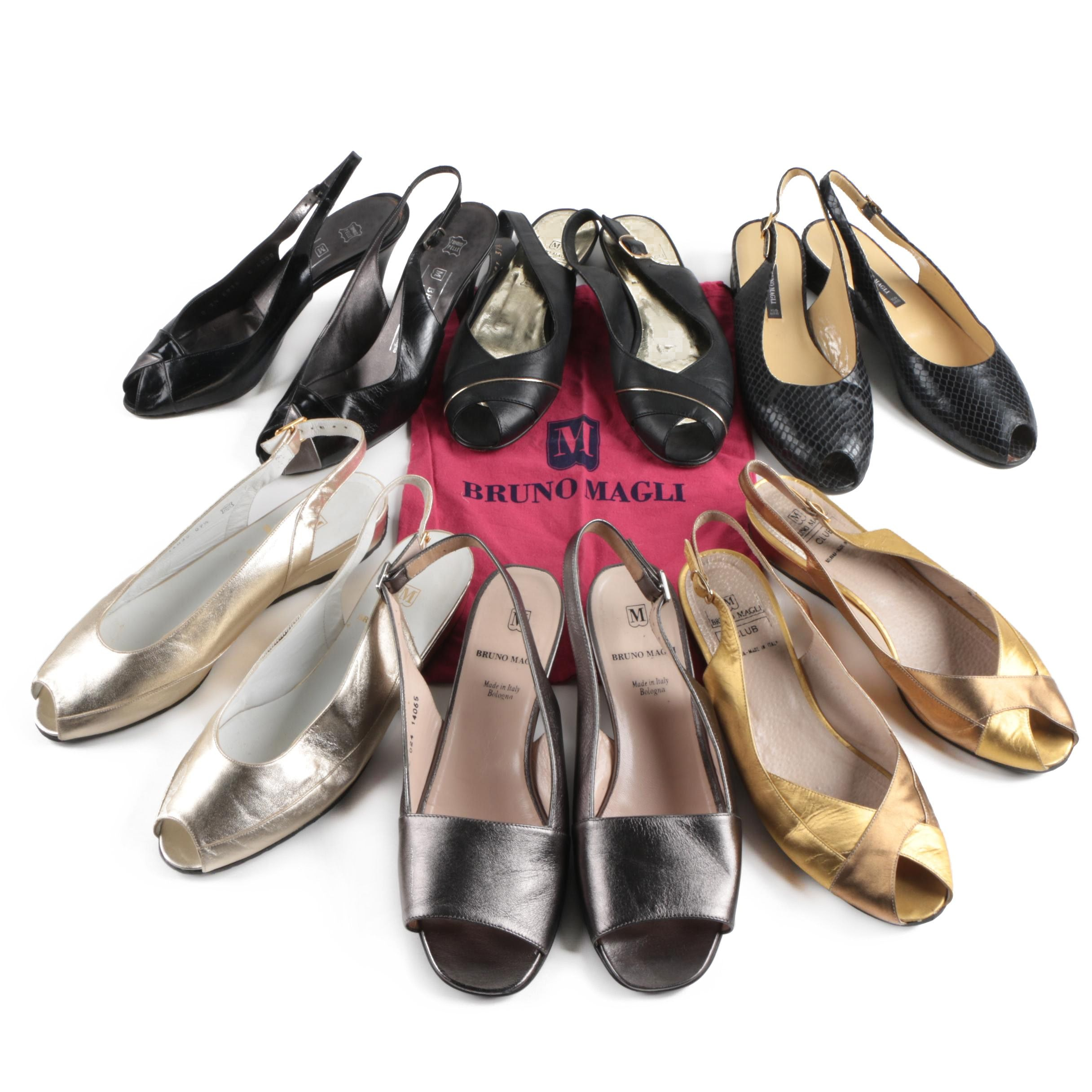 Collection of Bruno Magli Slingback Peep-Toe Shoes