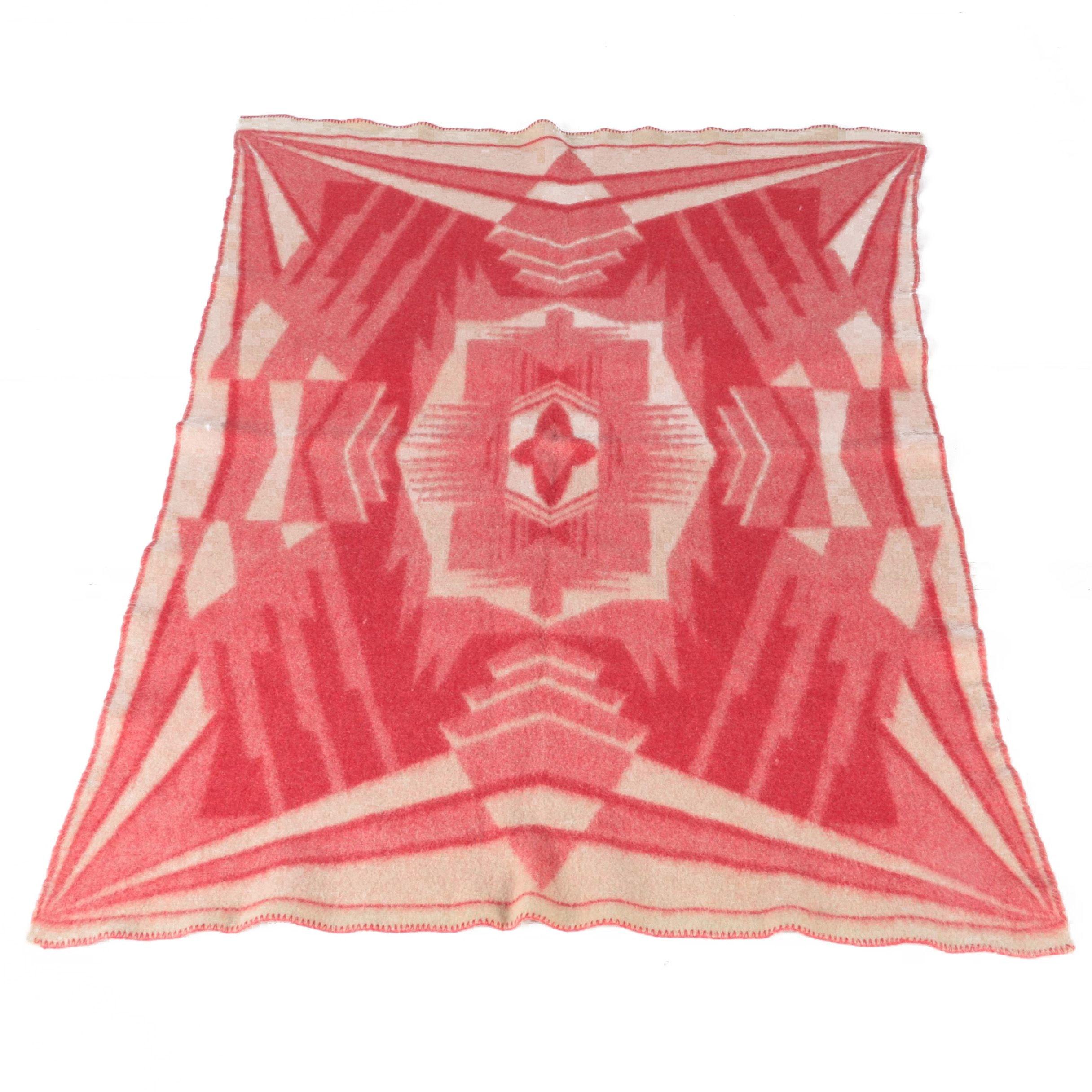 Vintage Dutch Geometric Wool Blanket