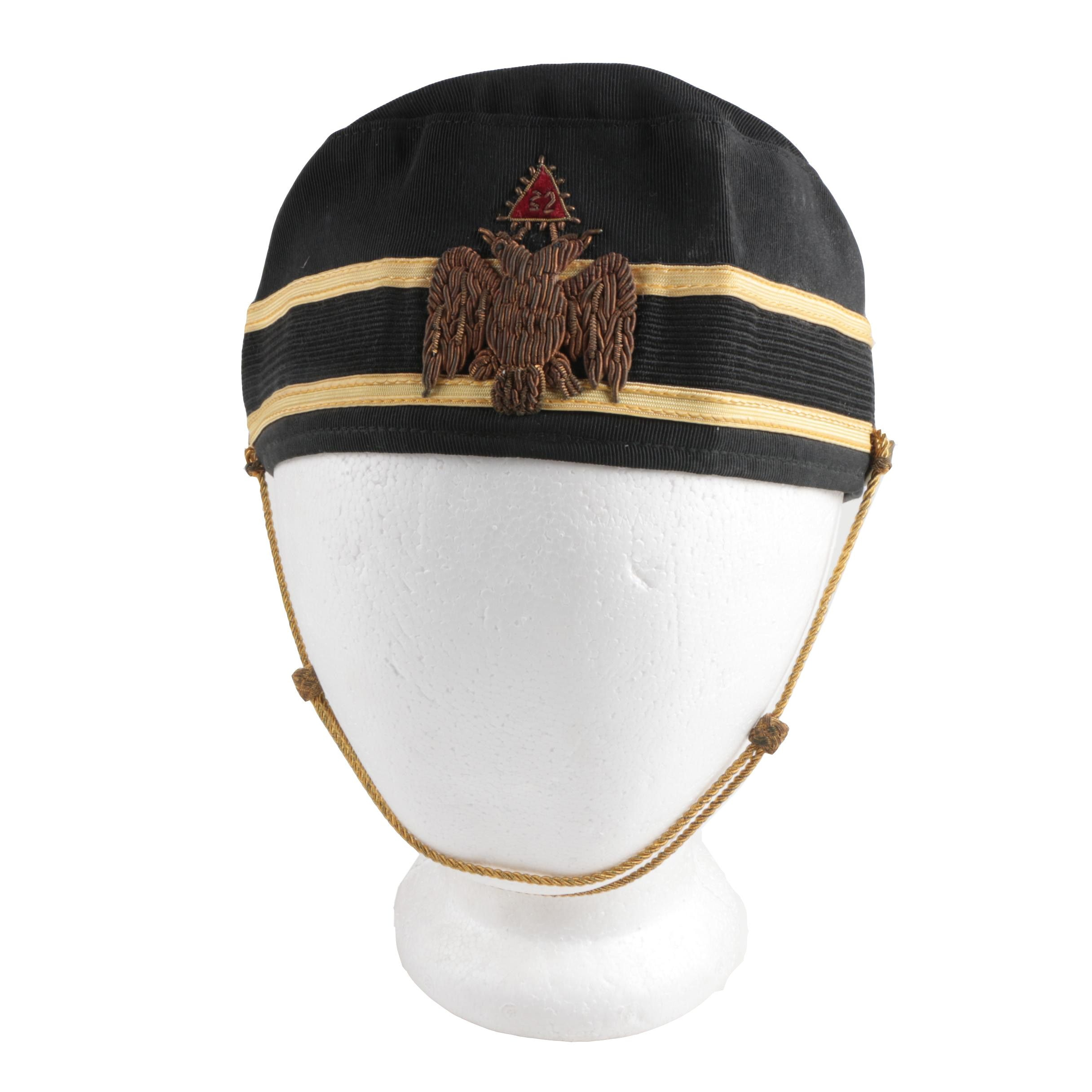 Scottish Rite 32nd Rank Masonic Cap with Double Eagle Emblem