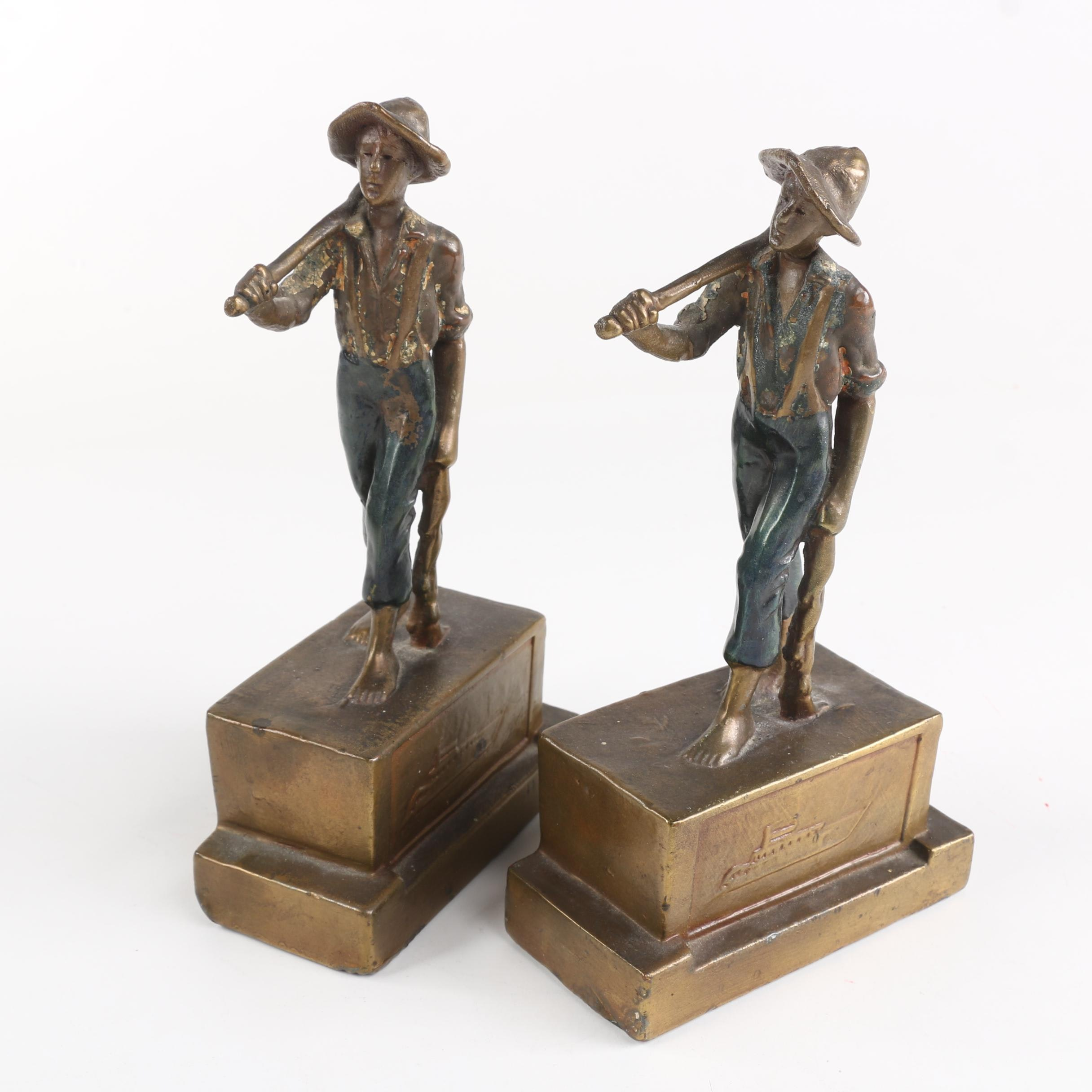 Vintage Armor Bronze Tom Sawyer and Huck Finn Bookends