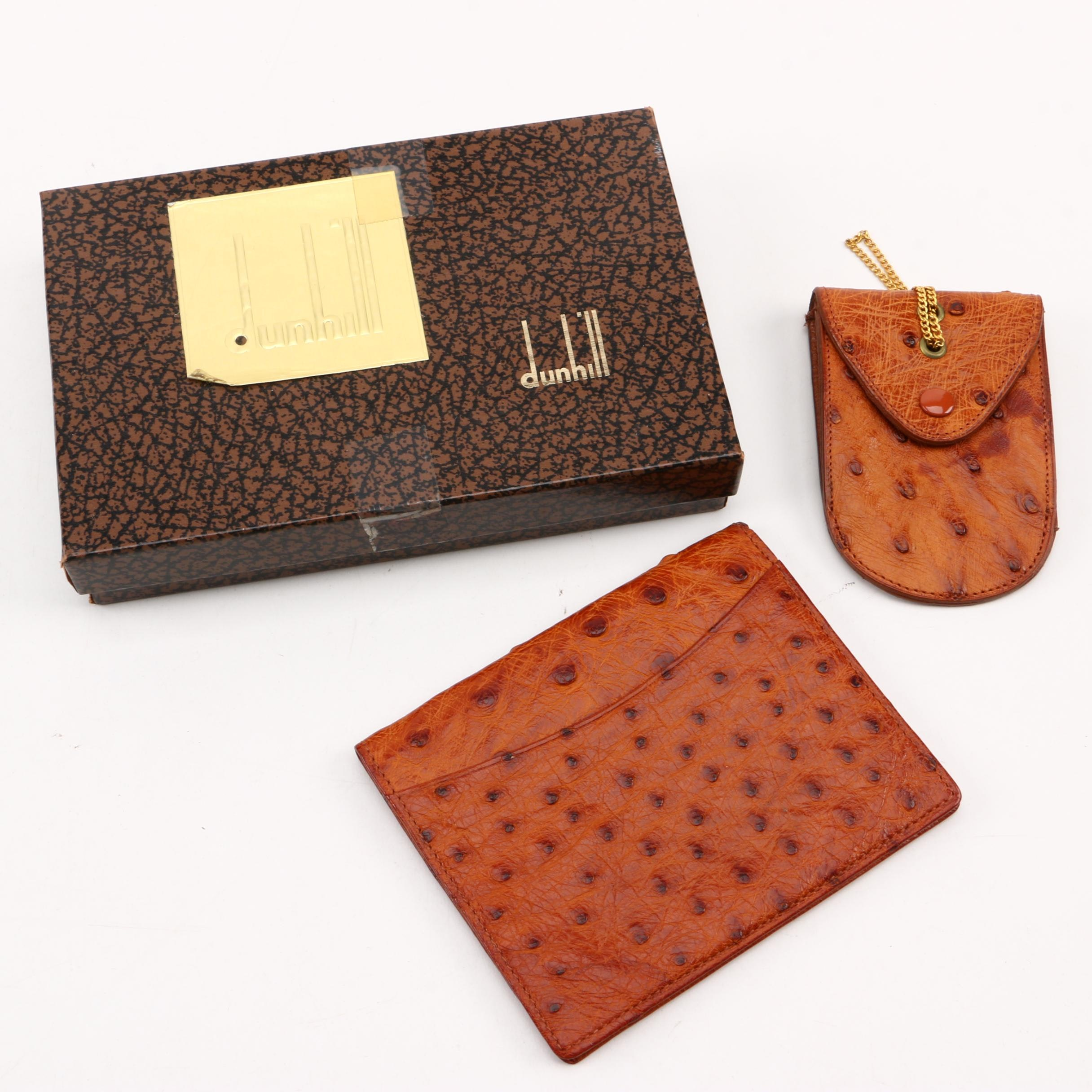Dunhill Ostrich Leather Wallet and Coin Purse