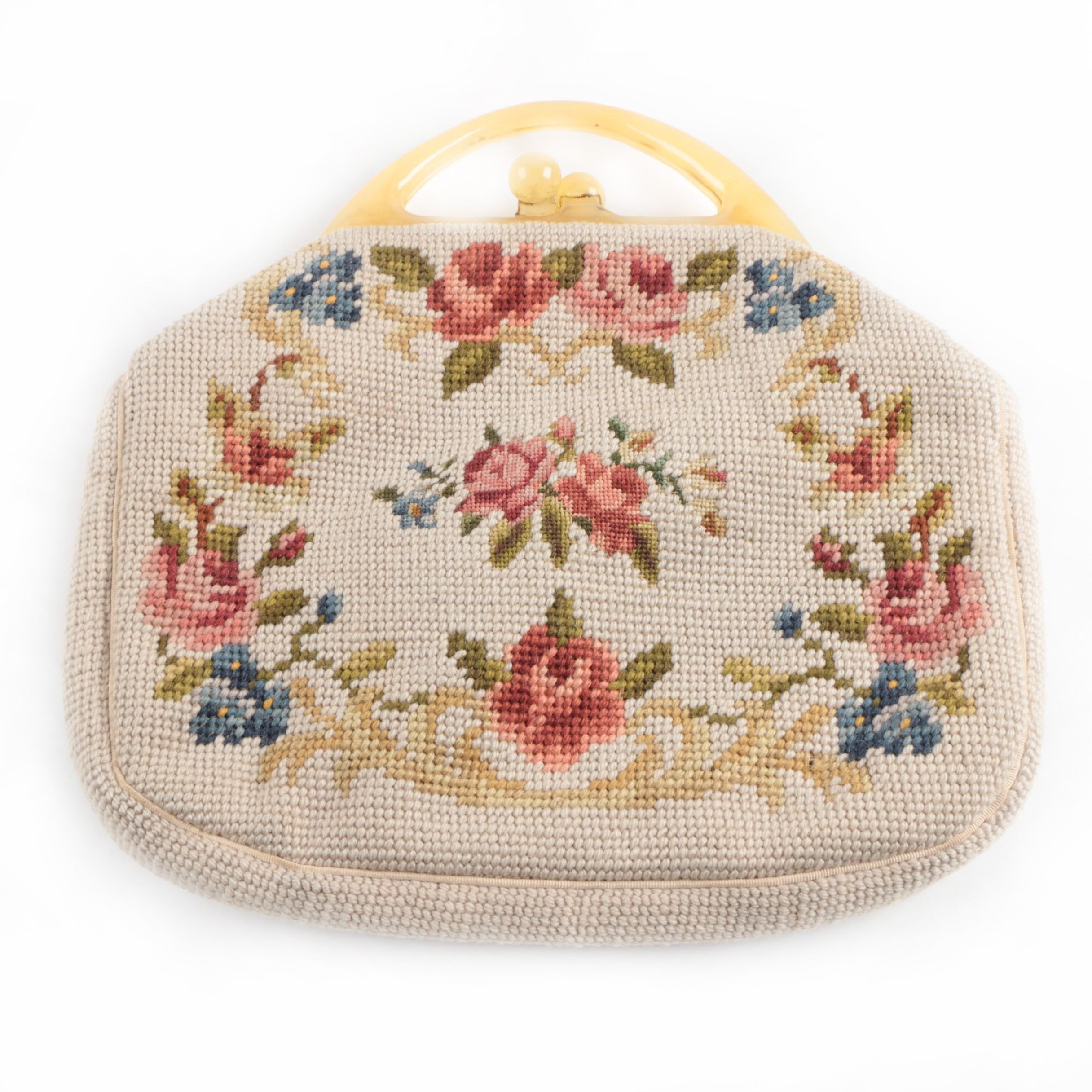 Vintage Maud Hundley Needlepoint Handbag