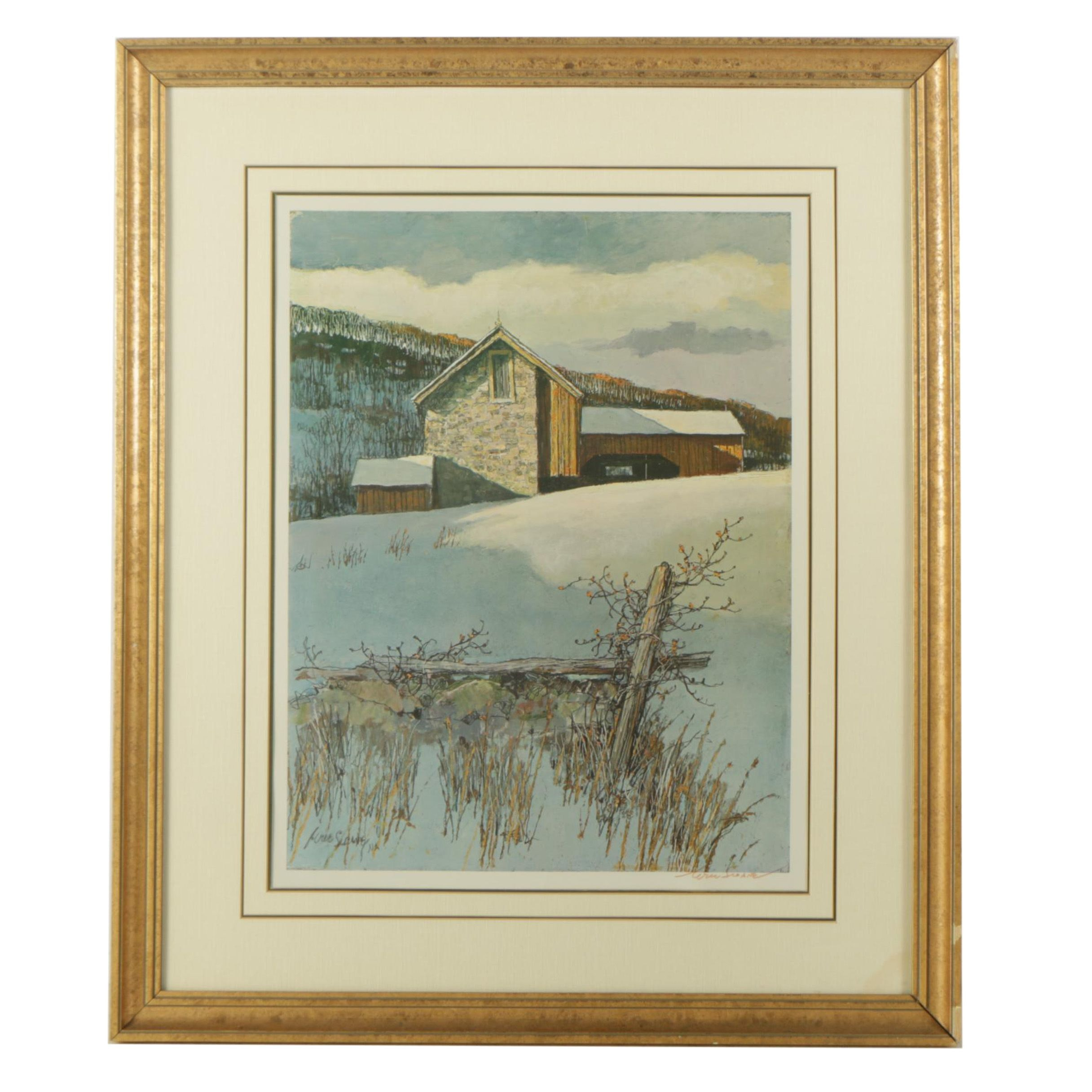"""Eric Sloane Offset Lithograph on Paper """"New England Winter"""""""