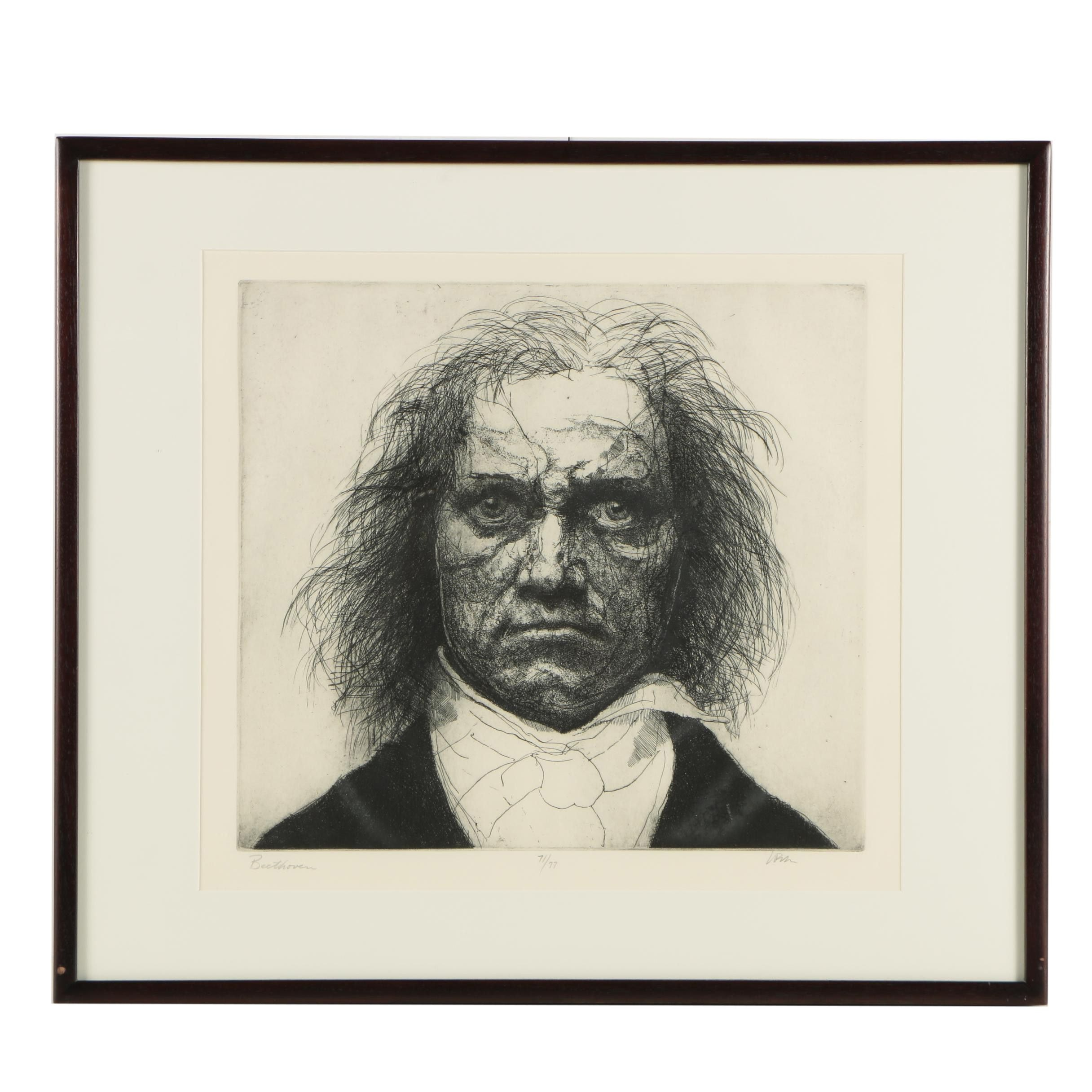 """Charles Wells Limited Edition Etching on Paper """"Beethoven"""""""
