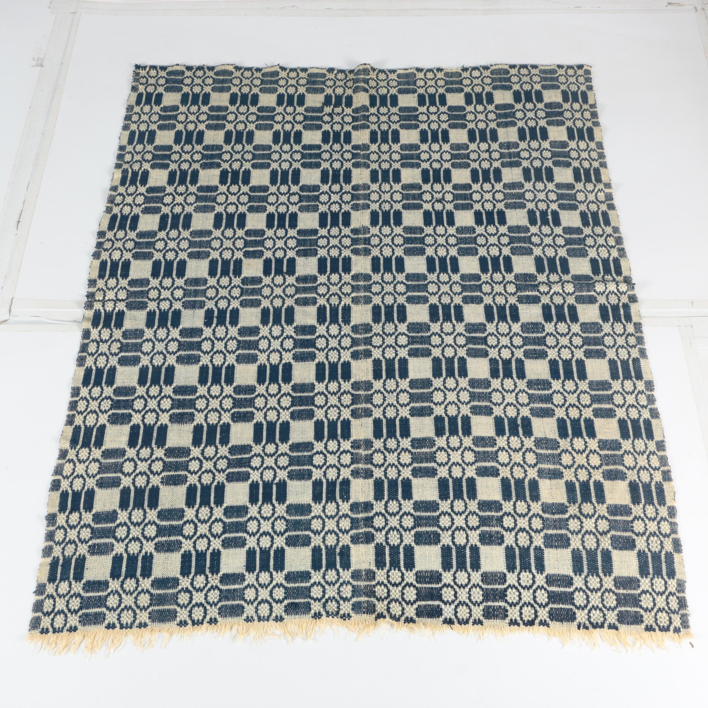 Antique Woven Wool Coverlet