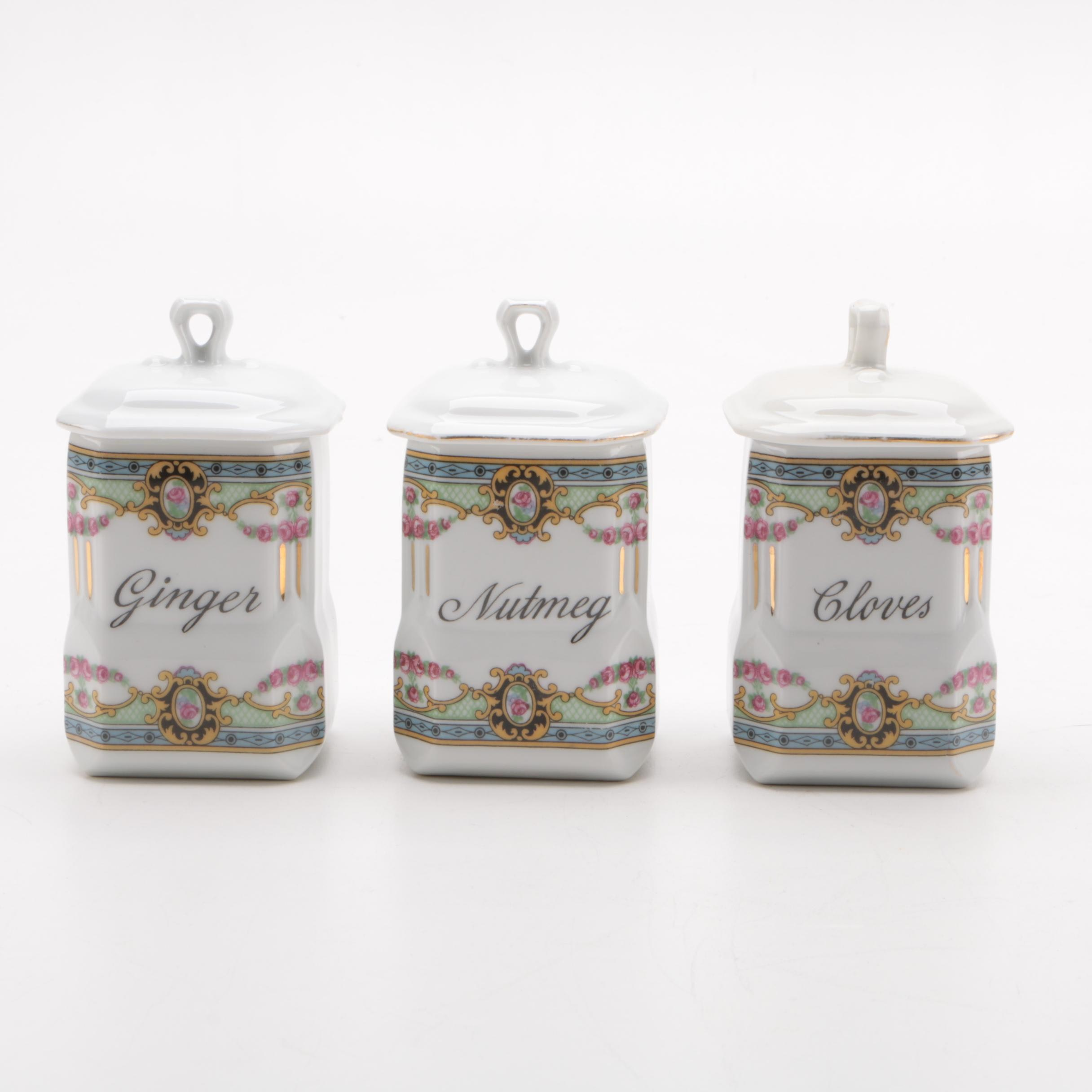 Victoria Czechoslovakia Porcelain Spice Jars