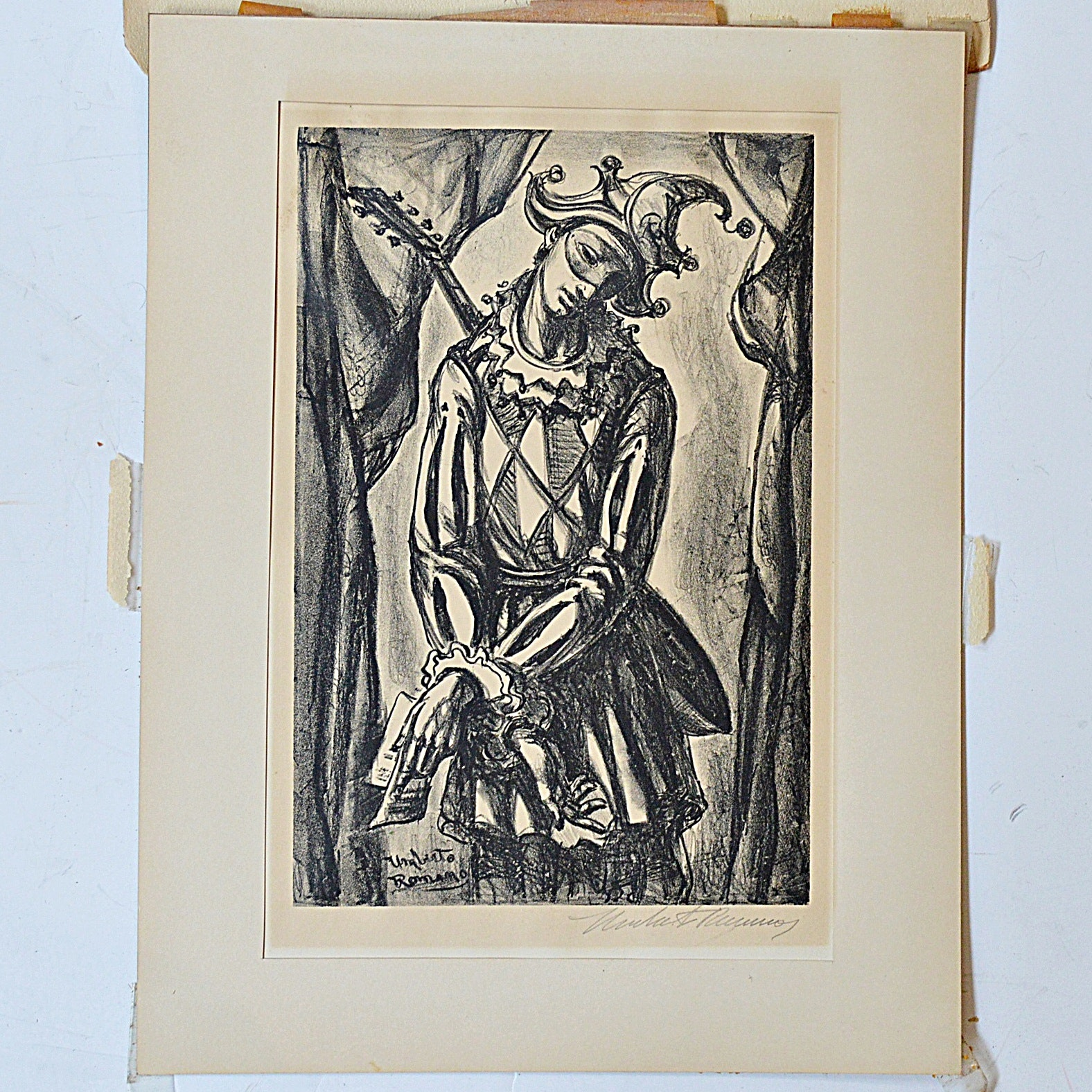 Umberto Romano Signed Lithograph of a Jester