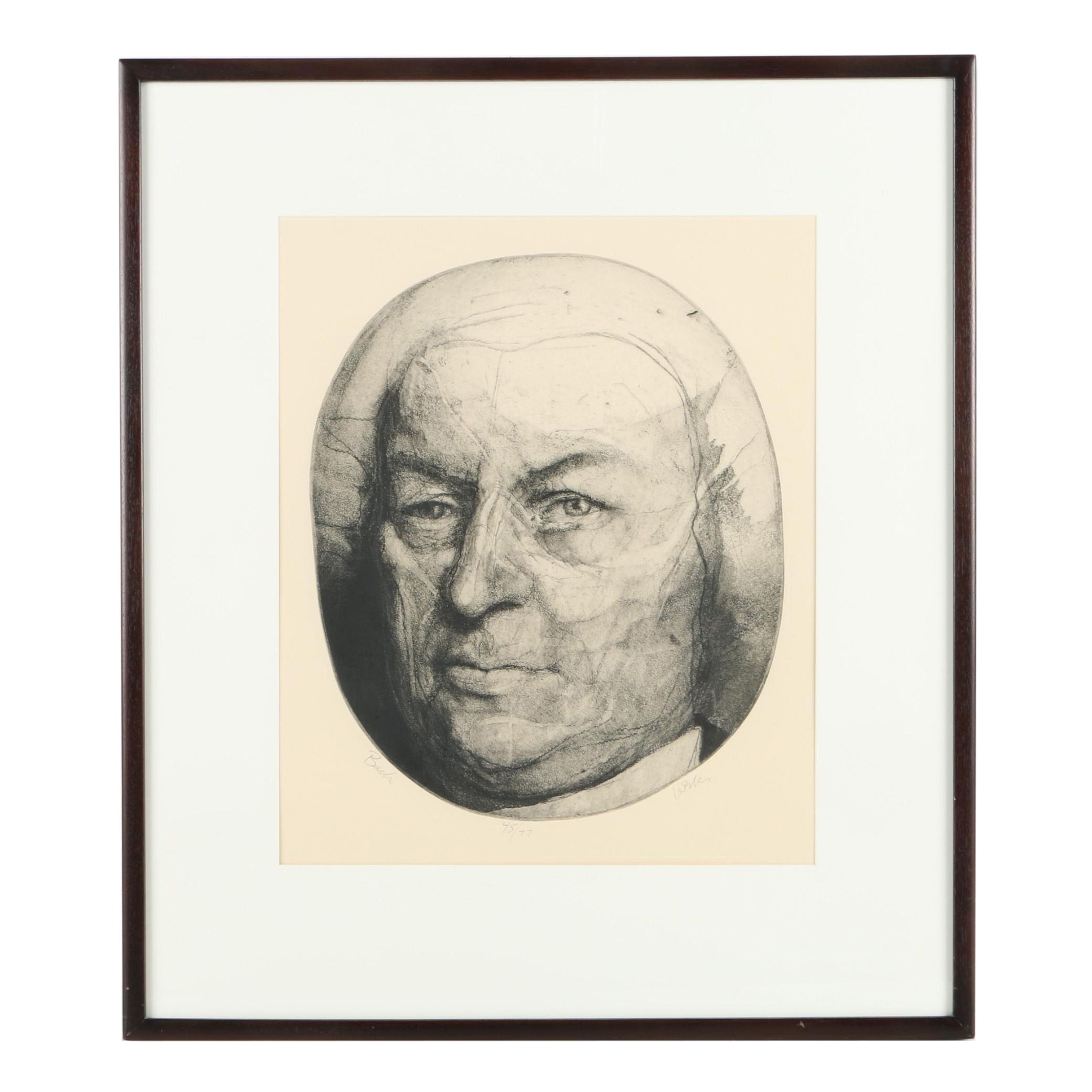 """Charles Wells Limited Edition Intaglio Print on Paper """"Bach"""""""