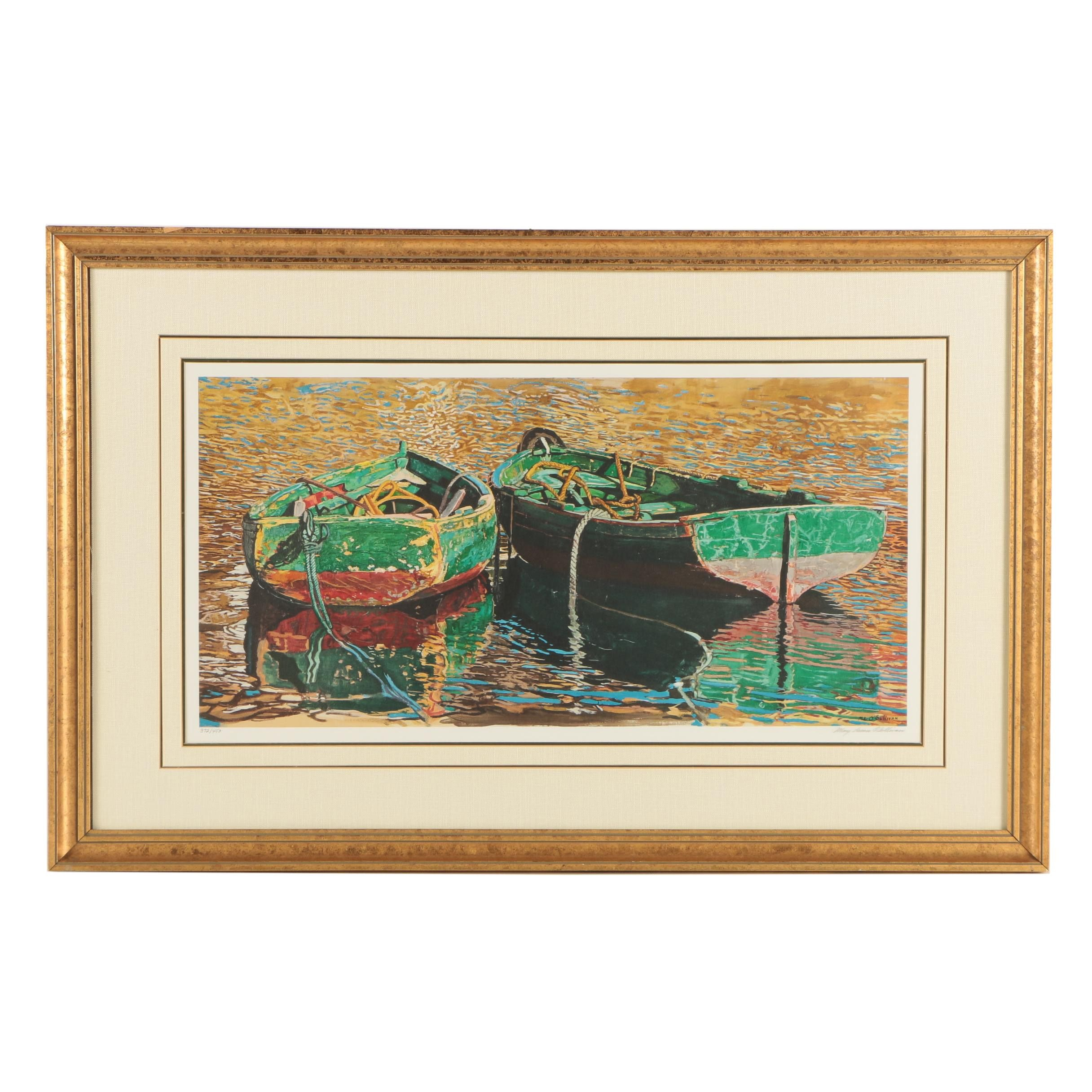 "Mary Louise O'Sullivan Limited Edition Giclee on Paper ""Two Rowboats"""