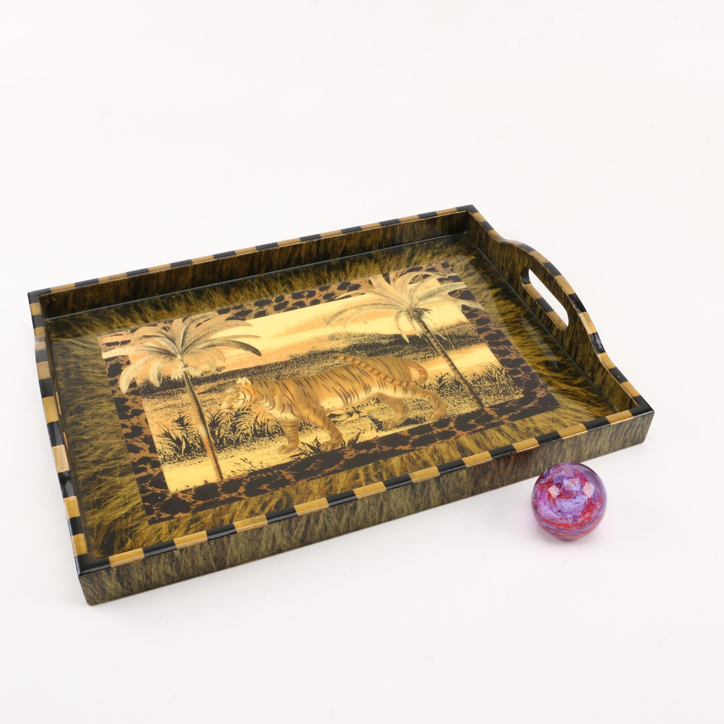 Annie Modica Tray and Brimstone Art Glass Paperweight