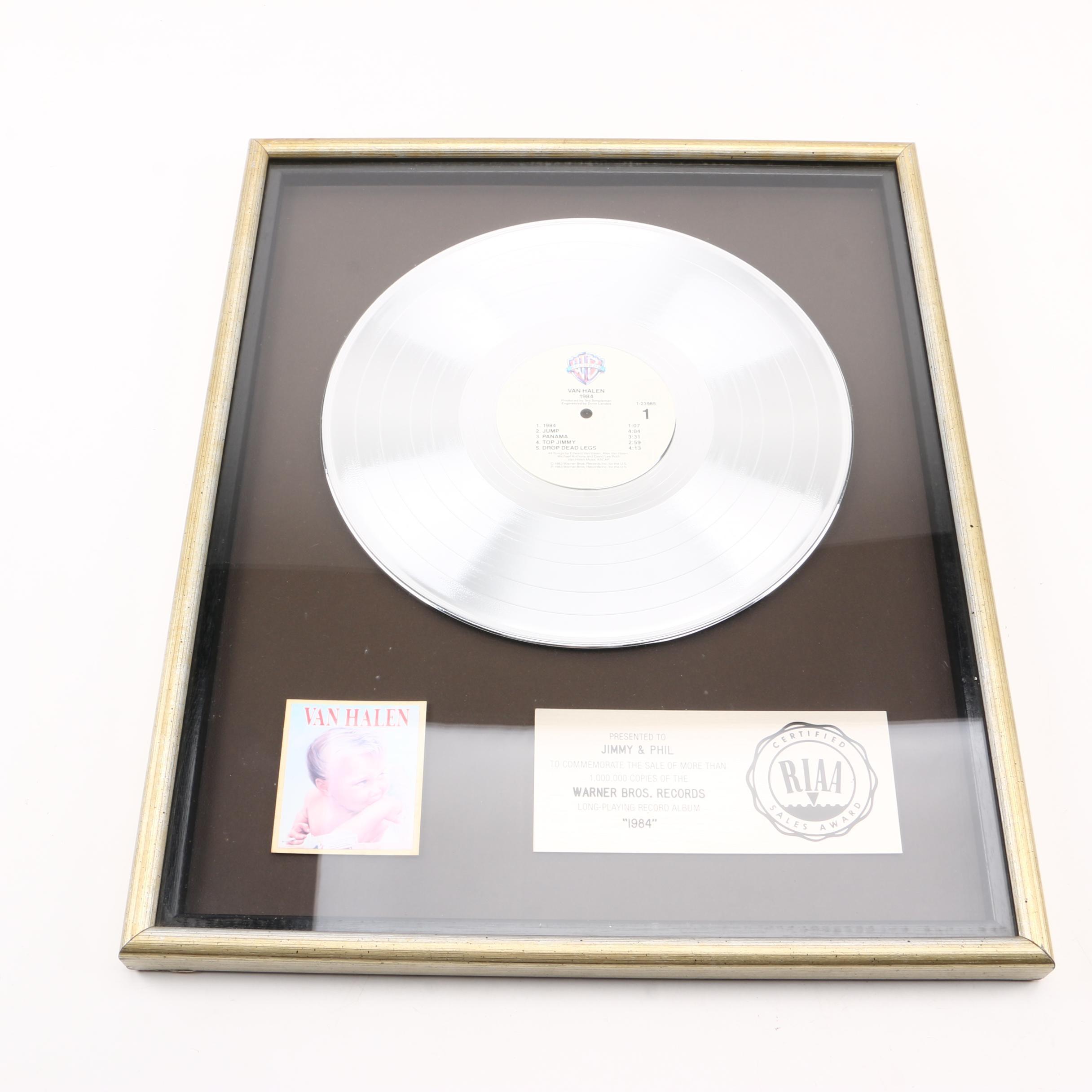 """RIAA Platinum Sales Award for Van Halen's """"1984"""""""