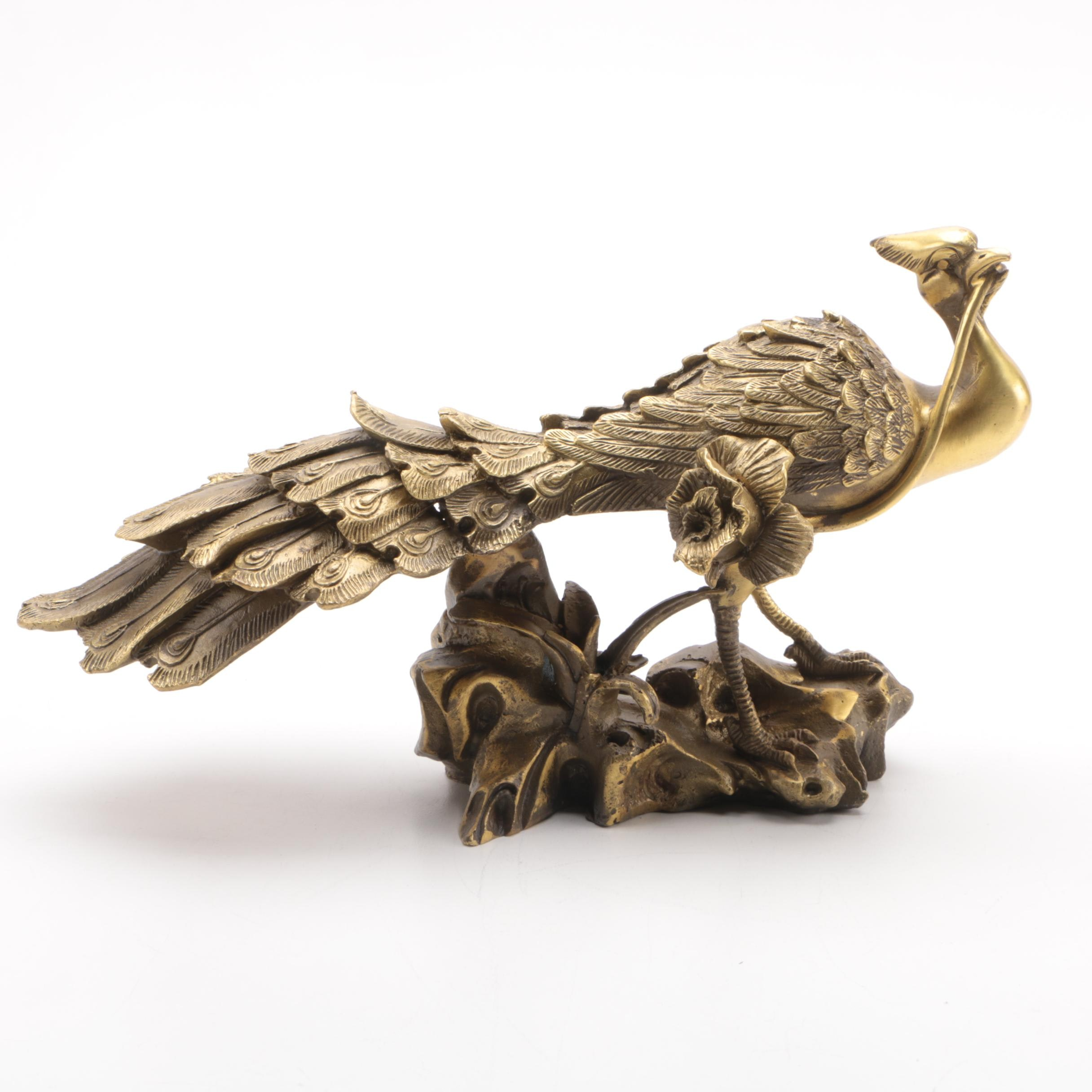Chinese Brass Peacock Holding a Rose