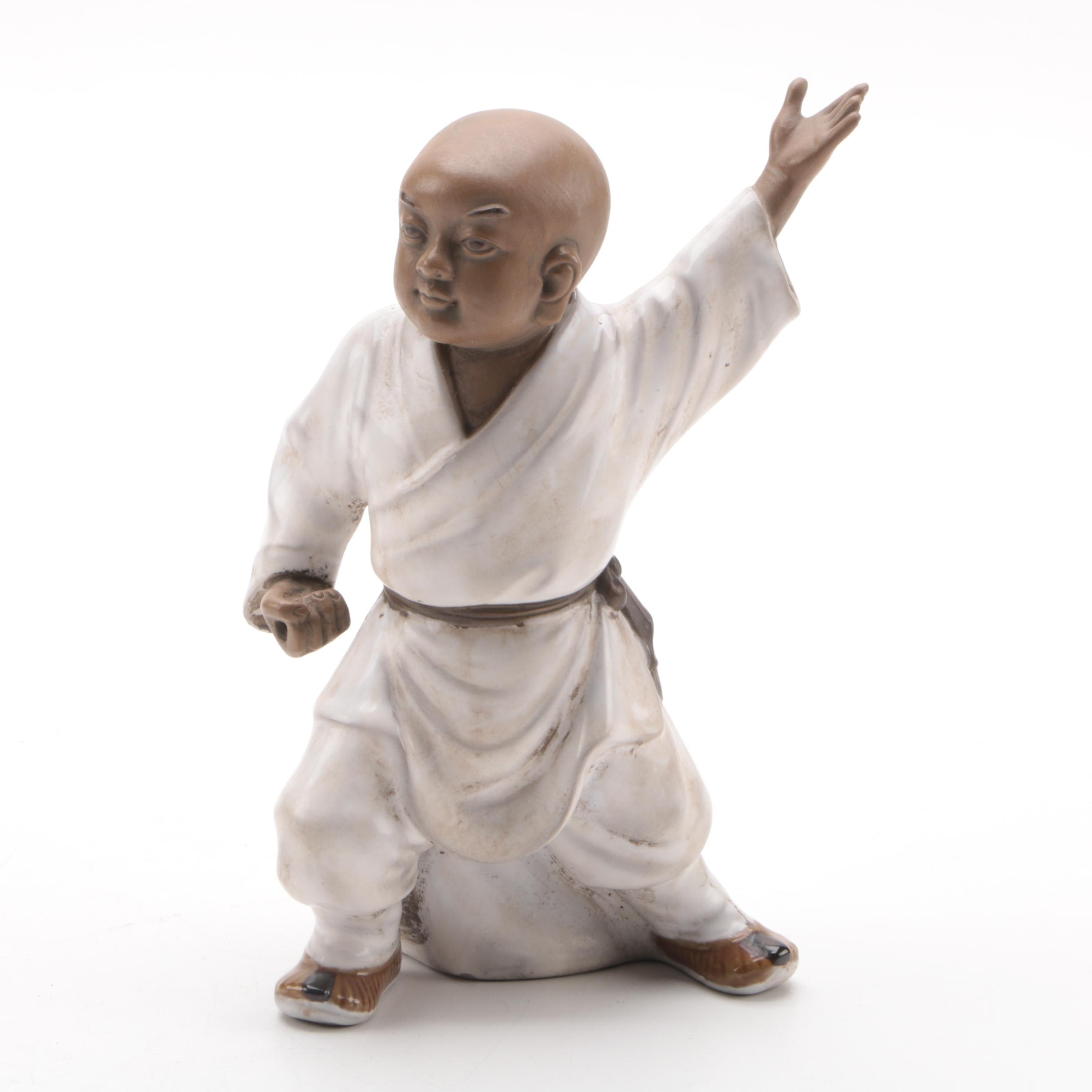 Chinese White Robed Martial Aritst Ceramic Figurine