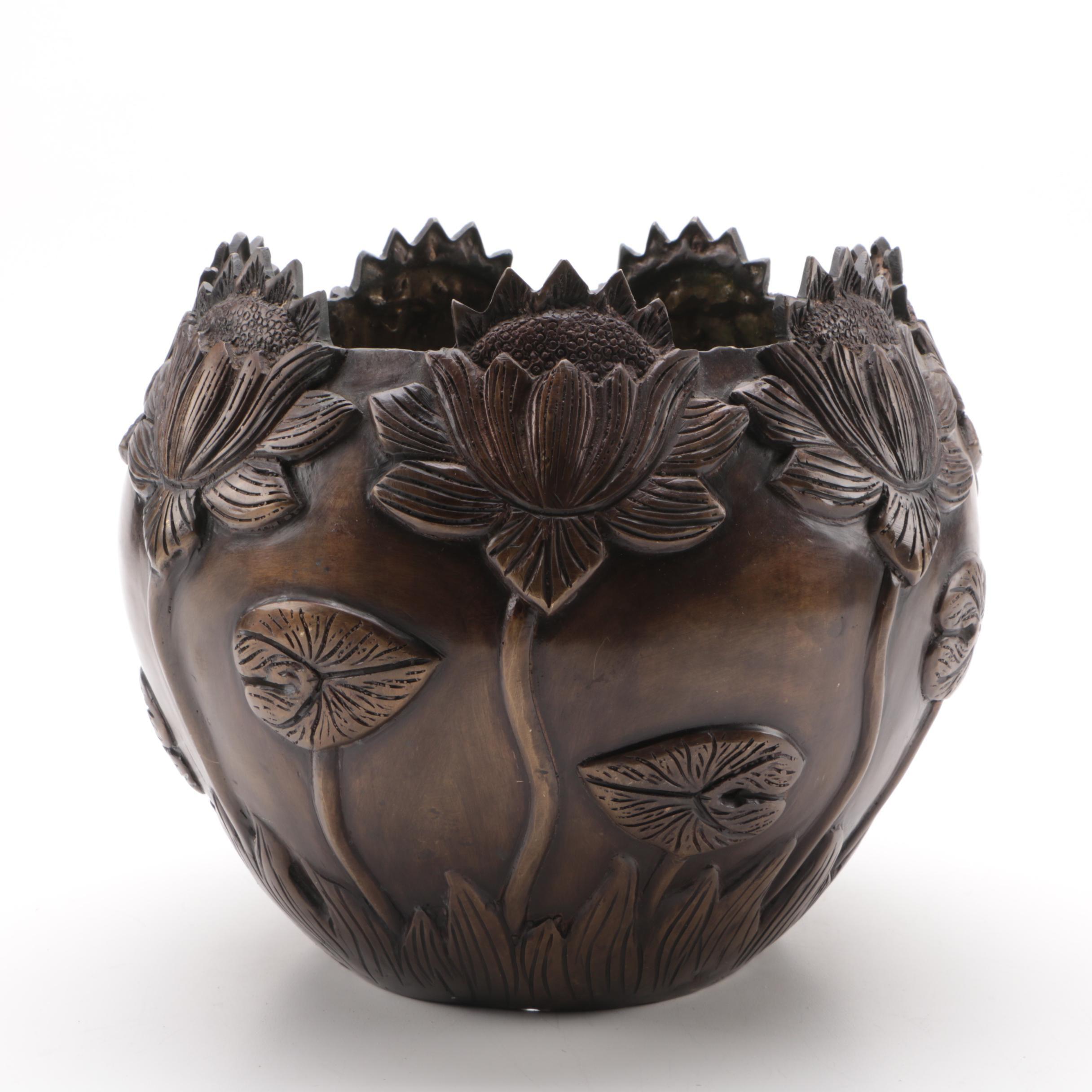 Floral Bronze Planter