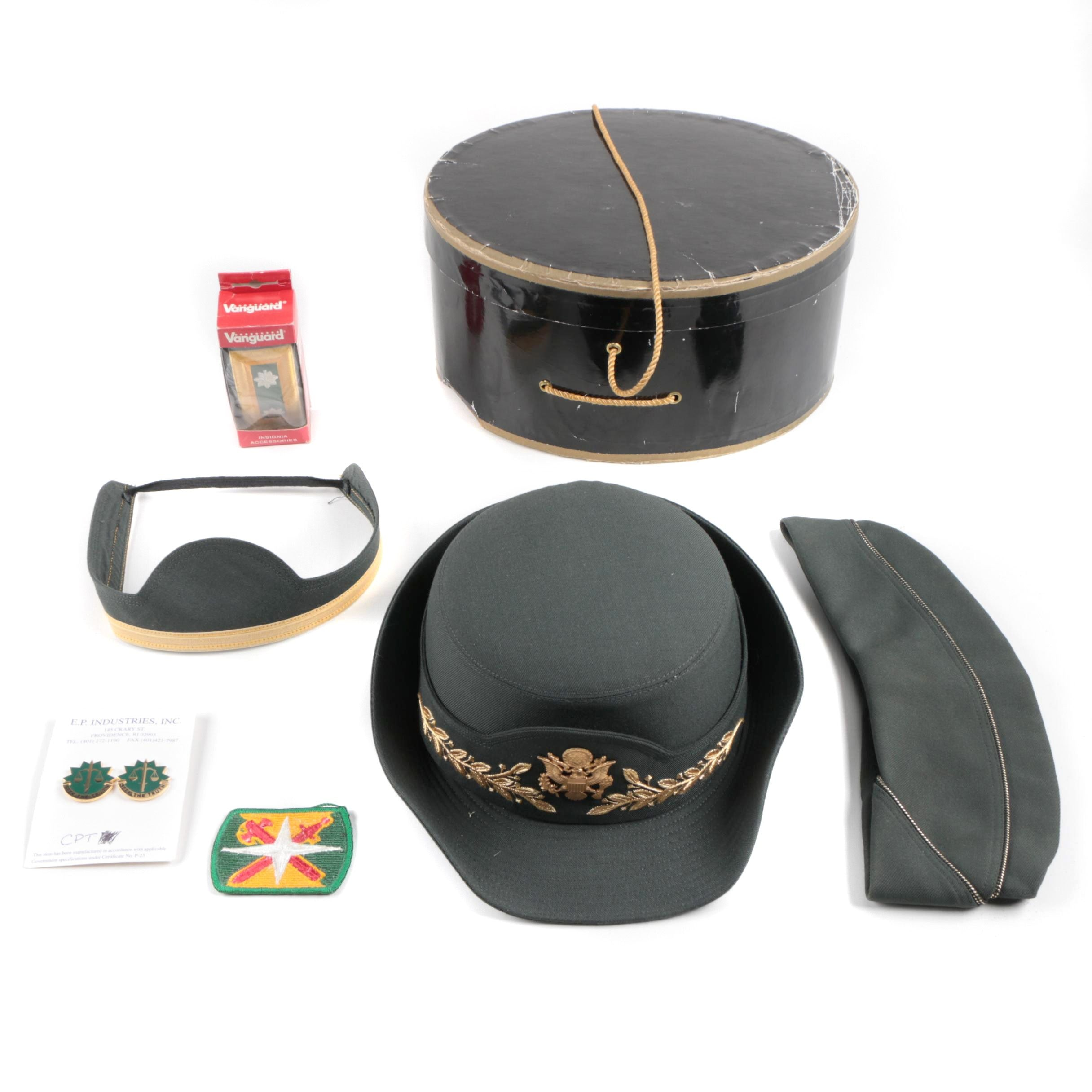 US Army Women's Caps with Hatbox and Pins