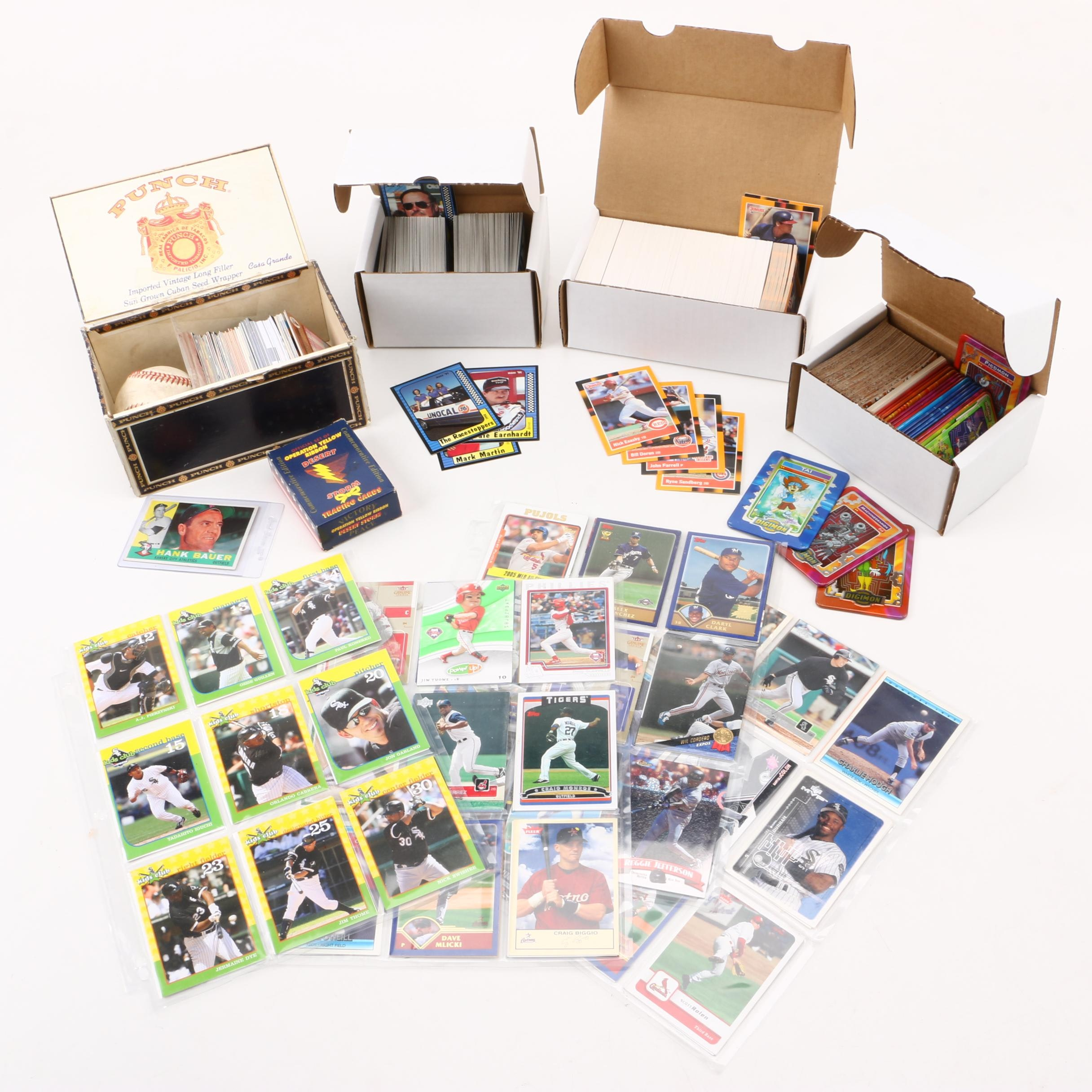 Assorted Trading Cards Including Baseball, NASCAR, and Digimon