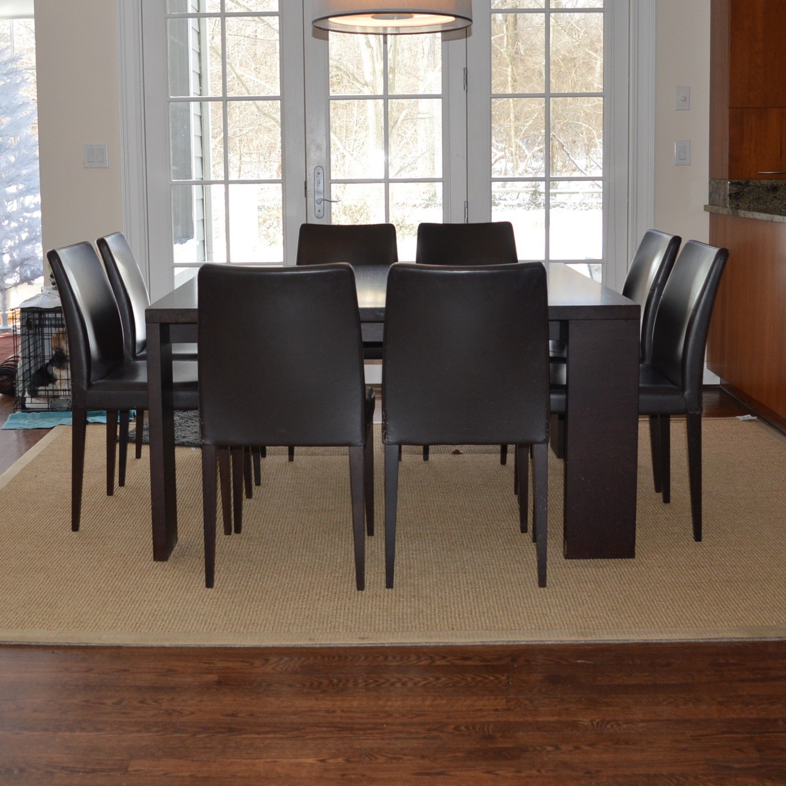 Italian Dining Table and Eight Leather Chairs